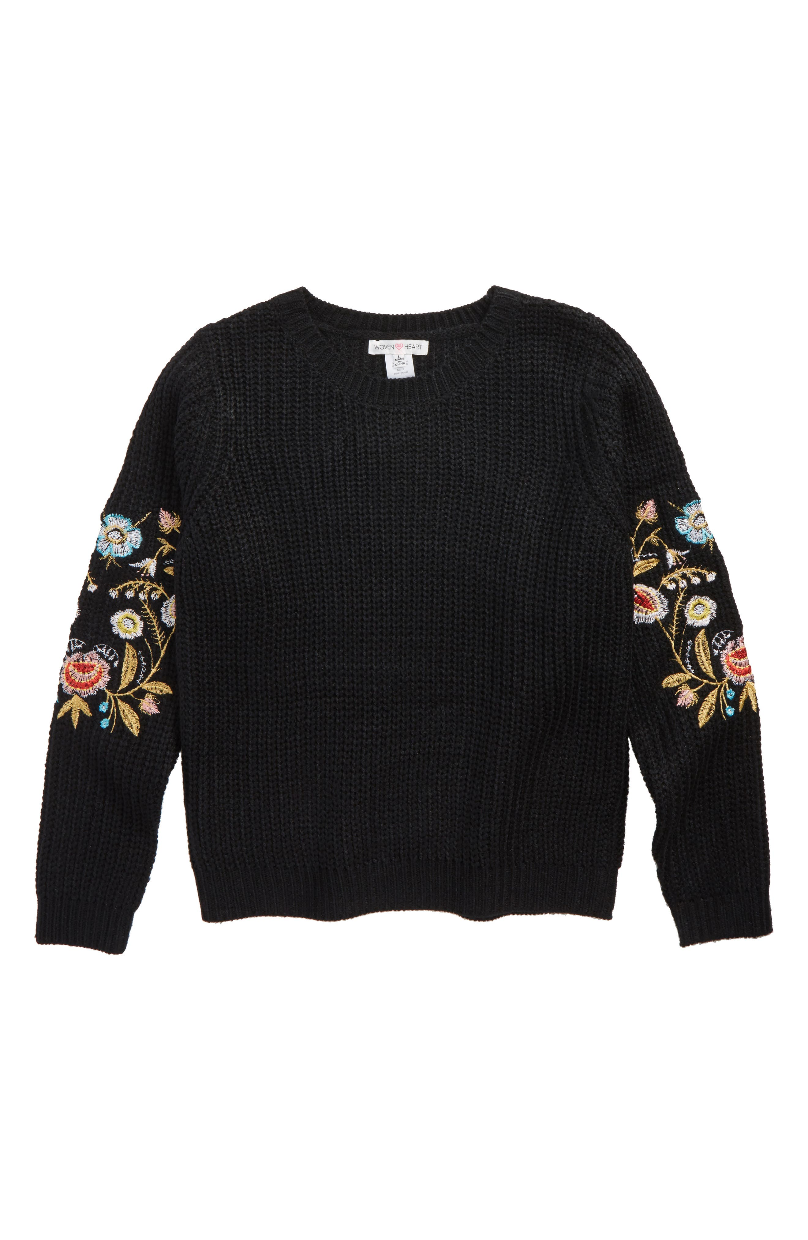 Alternate Image 1 Selected - Woven Heart Embroidered Sleeve Sweater (Big Girls)
