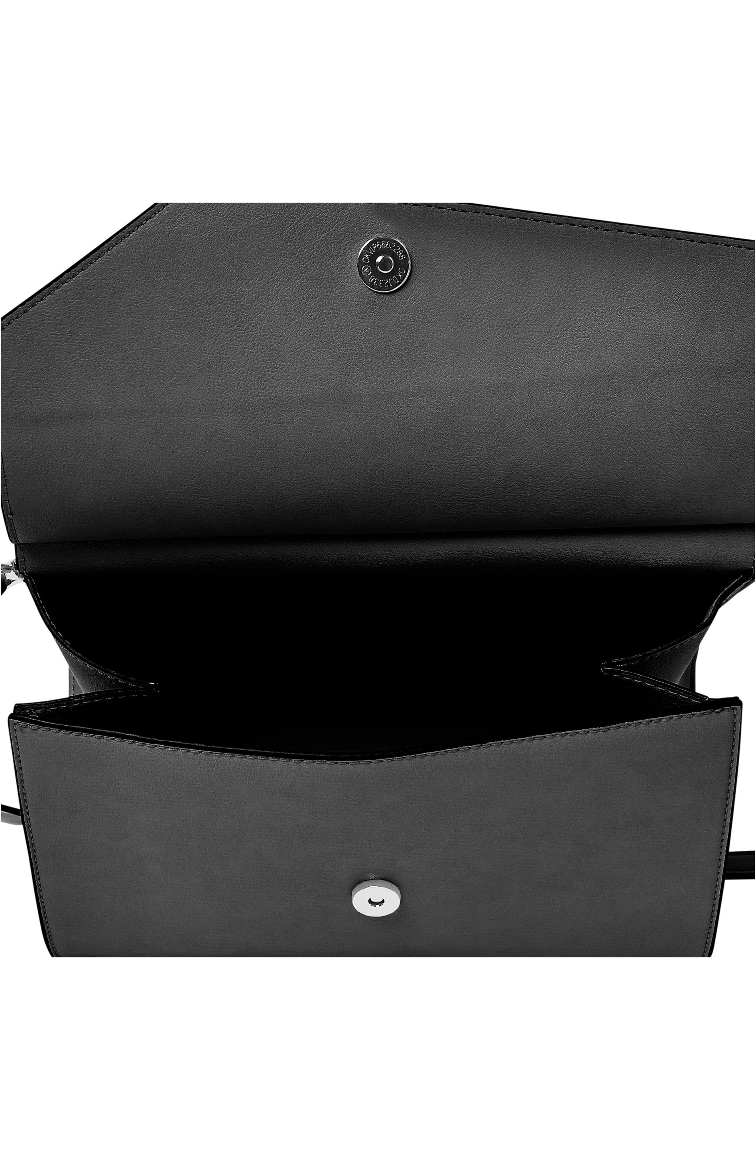 Shimmer Vegan Leather Shoulder Bag,                             Alternate thumbnail 3, color,                             Black