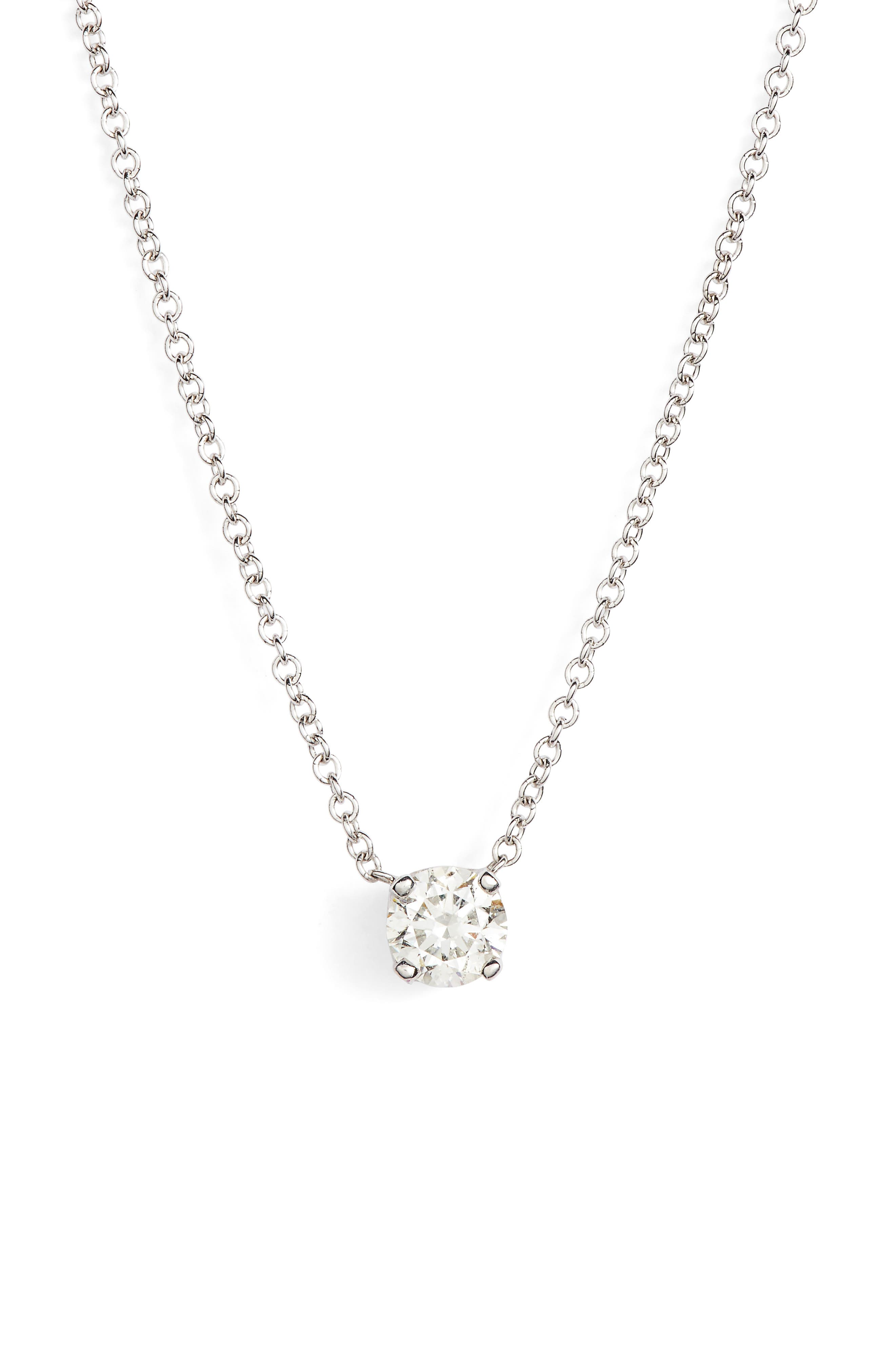Liora Solitaire Diamond Pendant Necklace,                         Main,                         color, White Gold