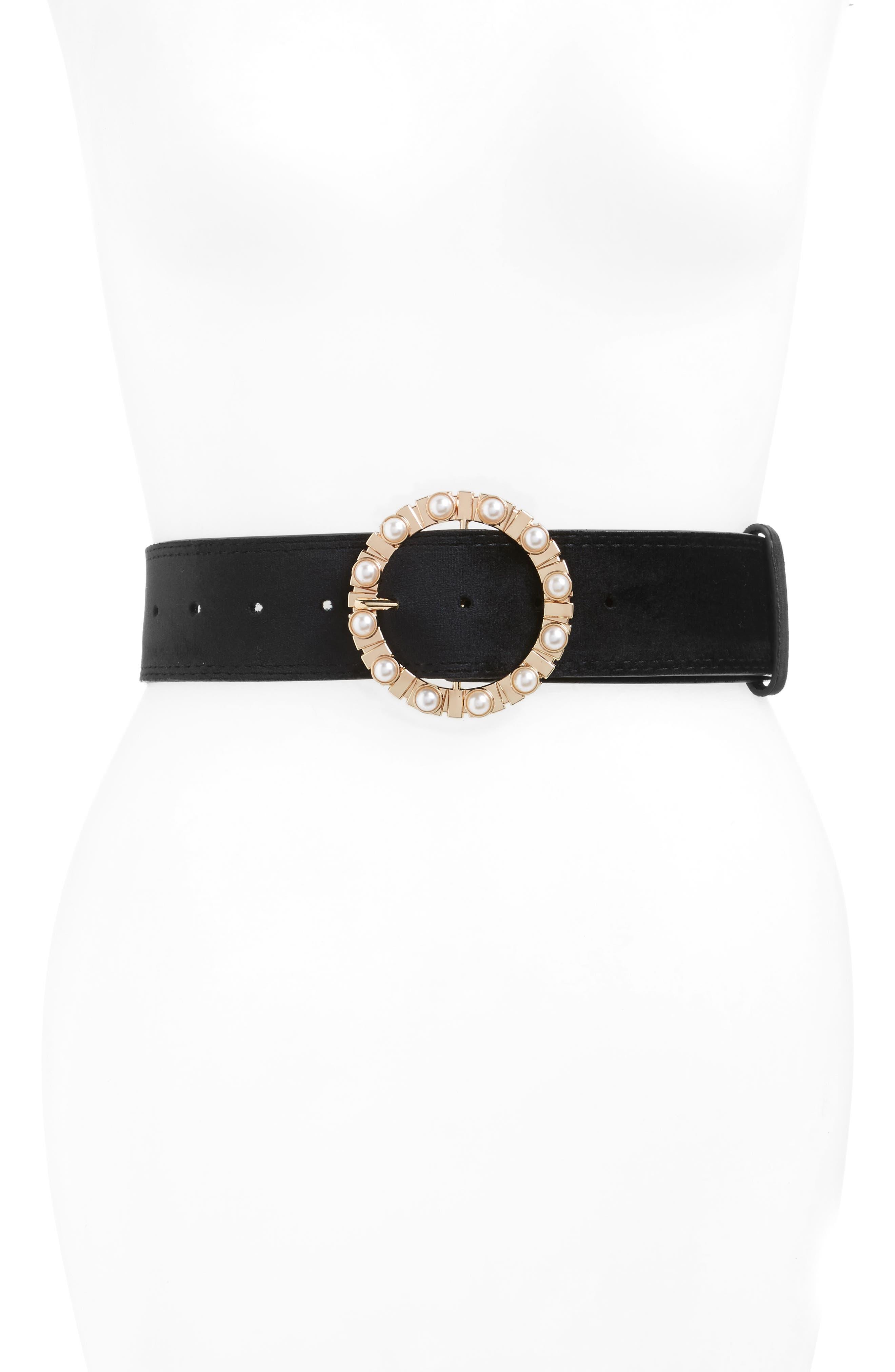 Imitation Pearl Buckle Belt,                         Main,                         color, Black