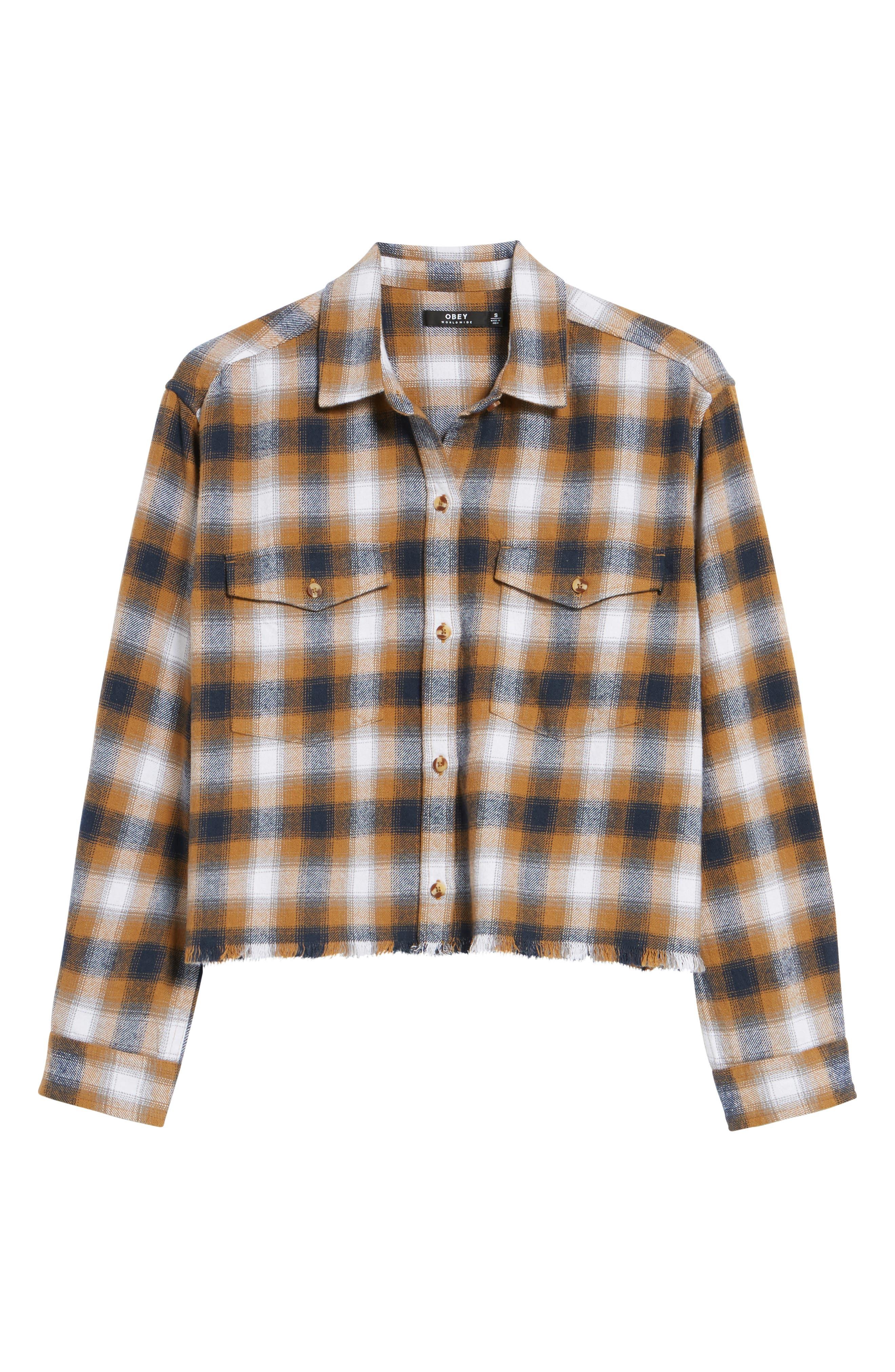 Alternate Image 6  - Obey Cassius Crop Flannel Shirt