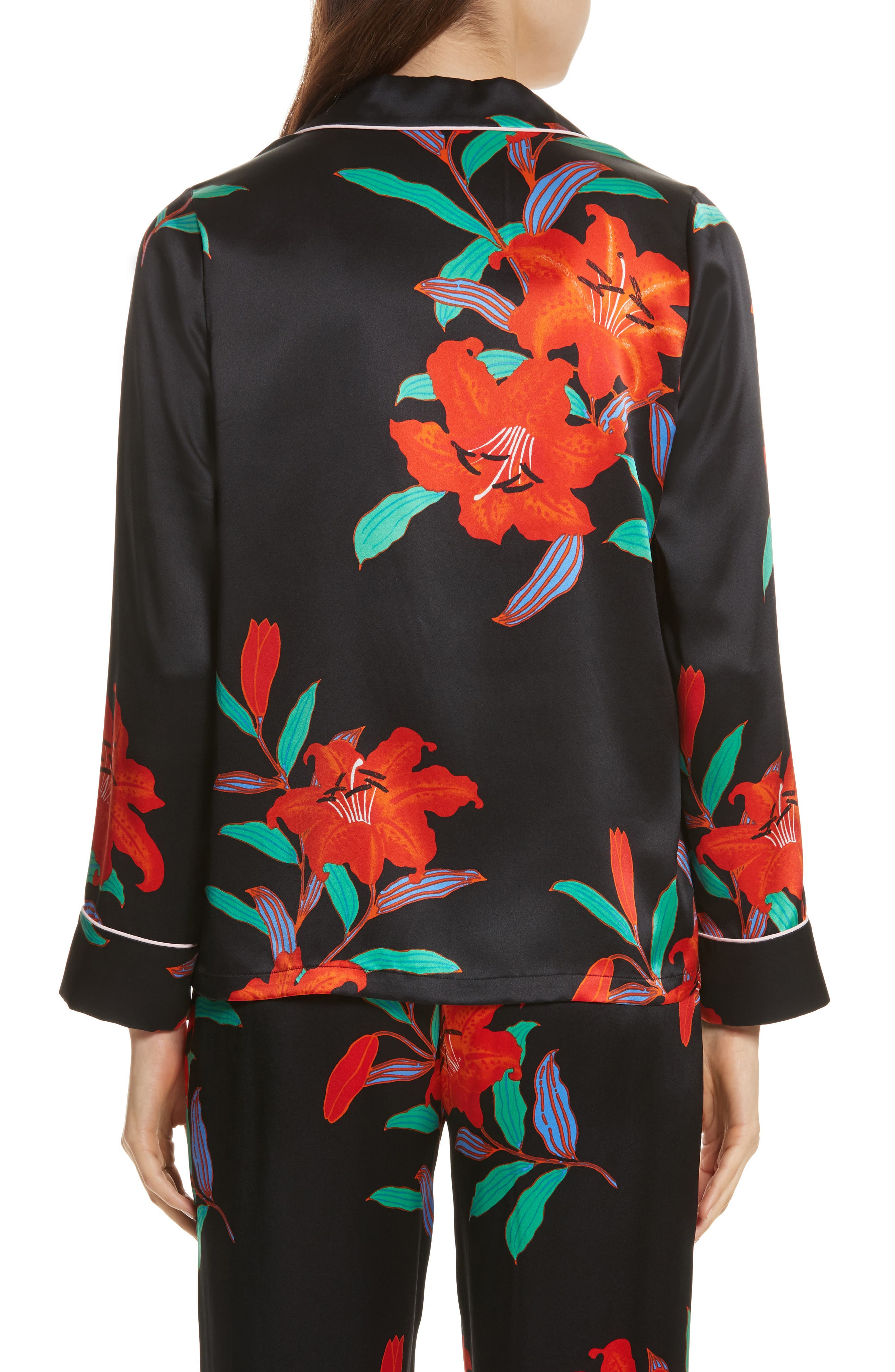Pajama Silk Shirt,                             Alternate thumbnail 2, color,                             Argos Black/ Powder Pink