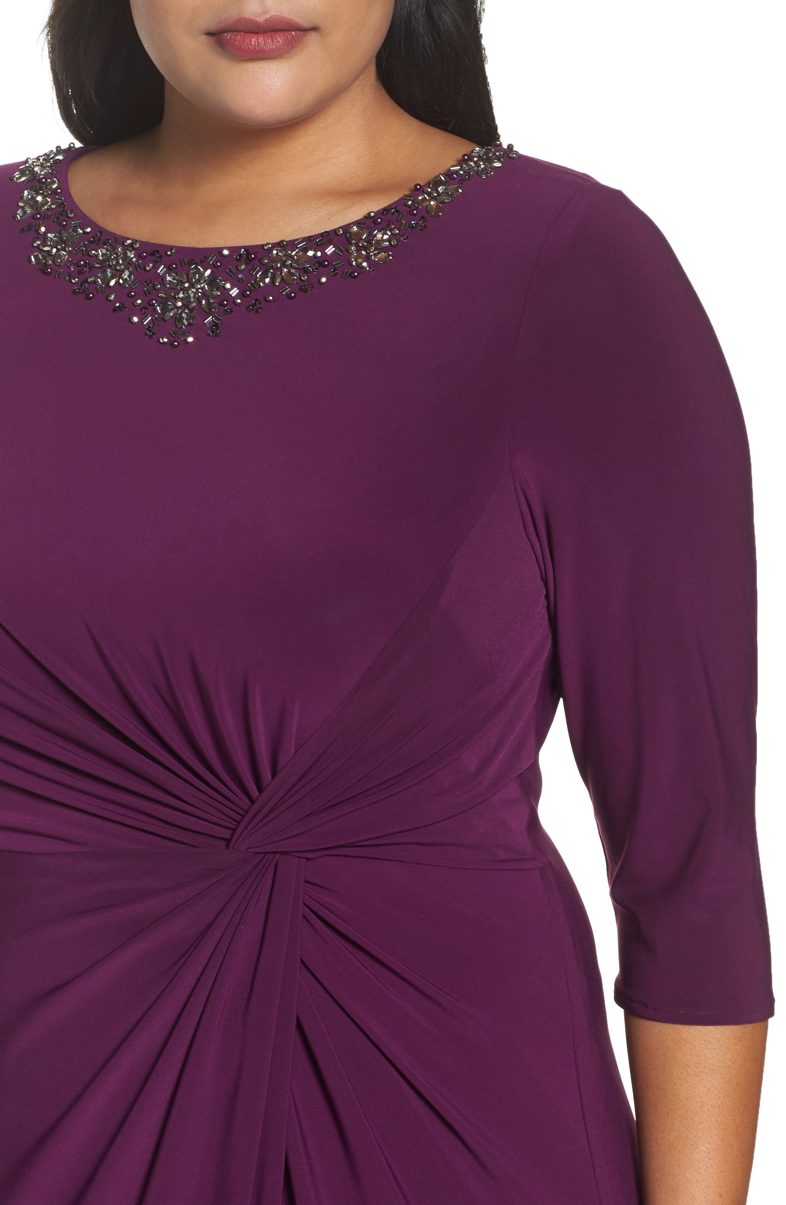 Alternate Image 4  - Alex Evenings Embellished Knot Front A-Line Gown (Plus Size)