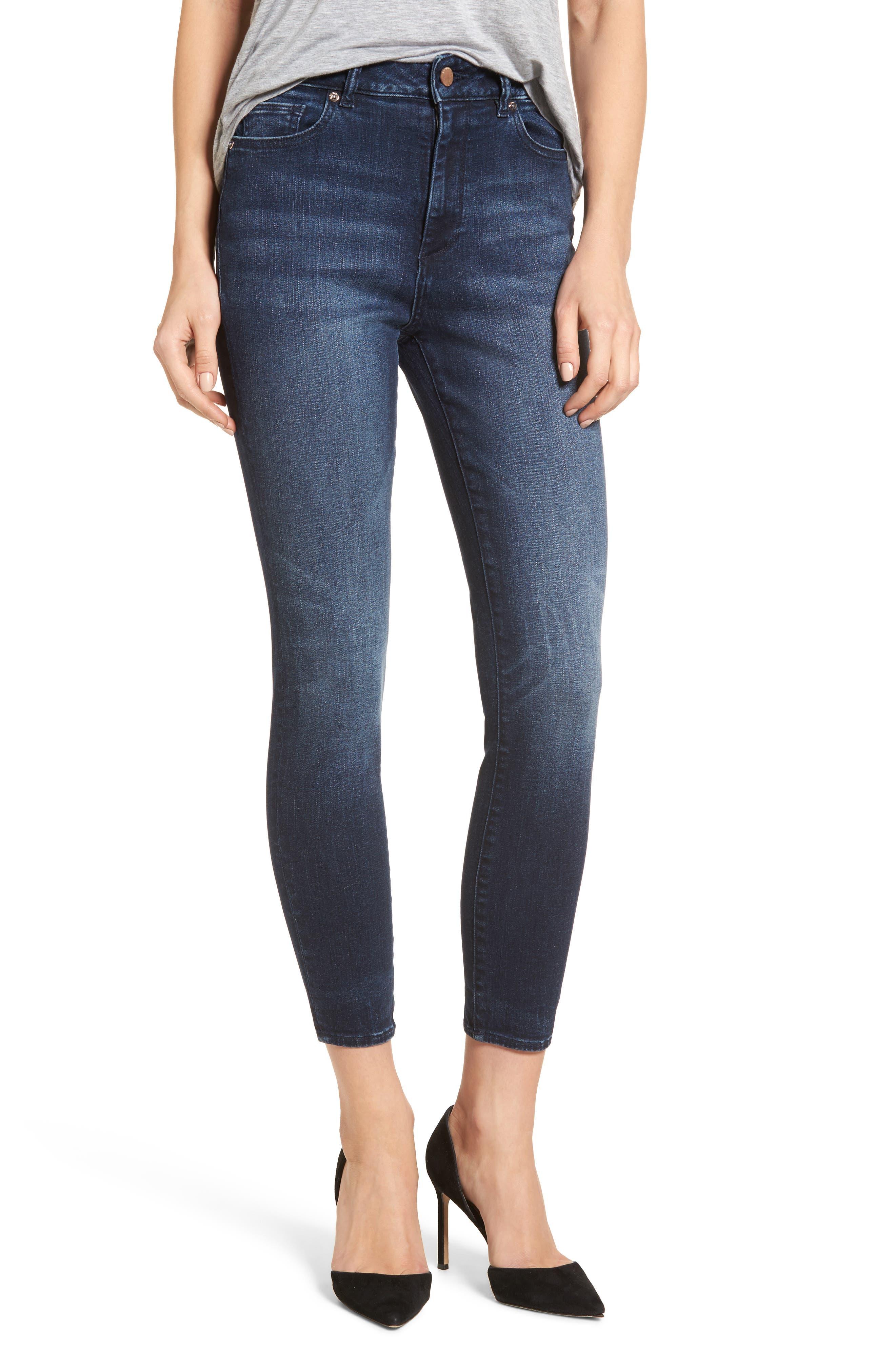 Carlie High Waist Ankle Skinny Jeans,                         Main,                         color, Spritz