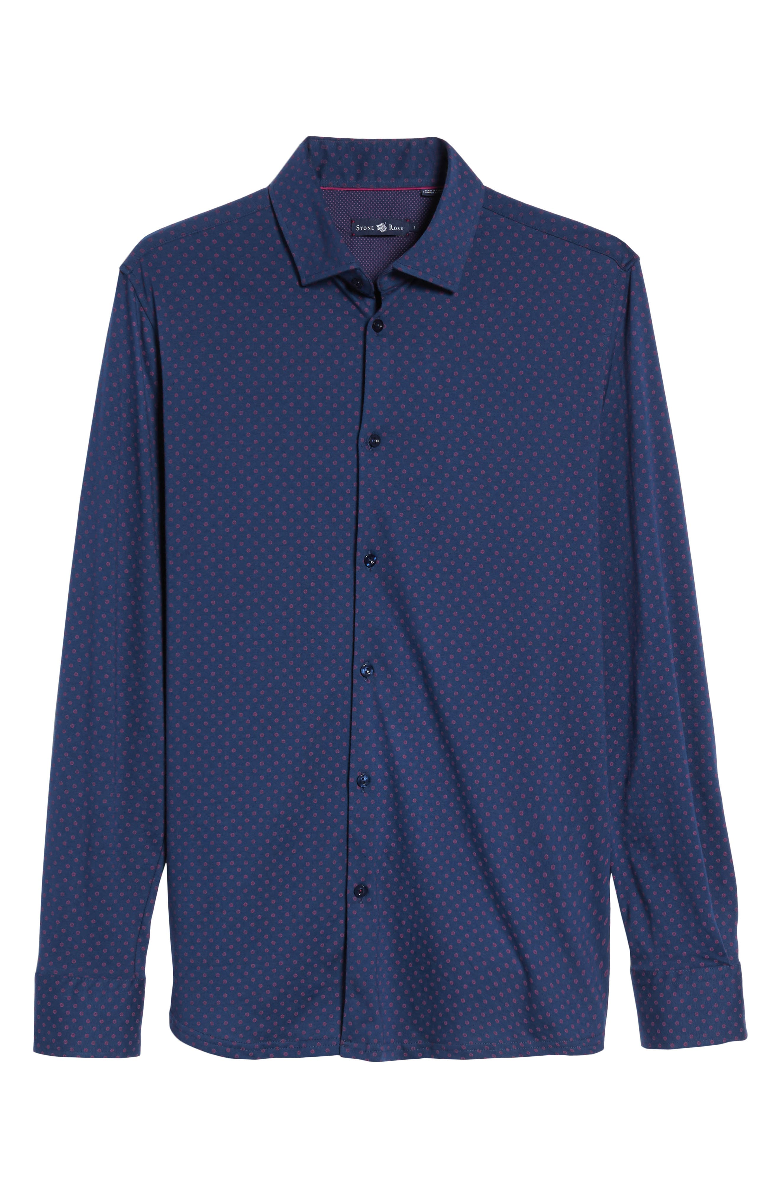 Ship Wheel Knit Sport Shirt,                             Alternate thumbnail 6, color,                             Navy