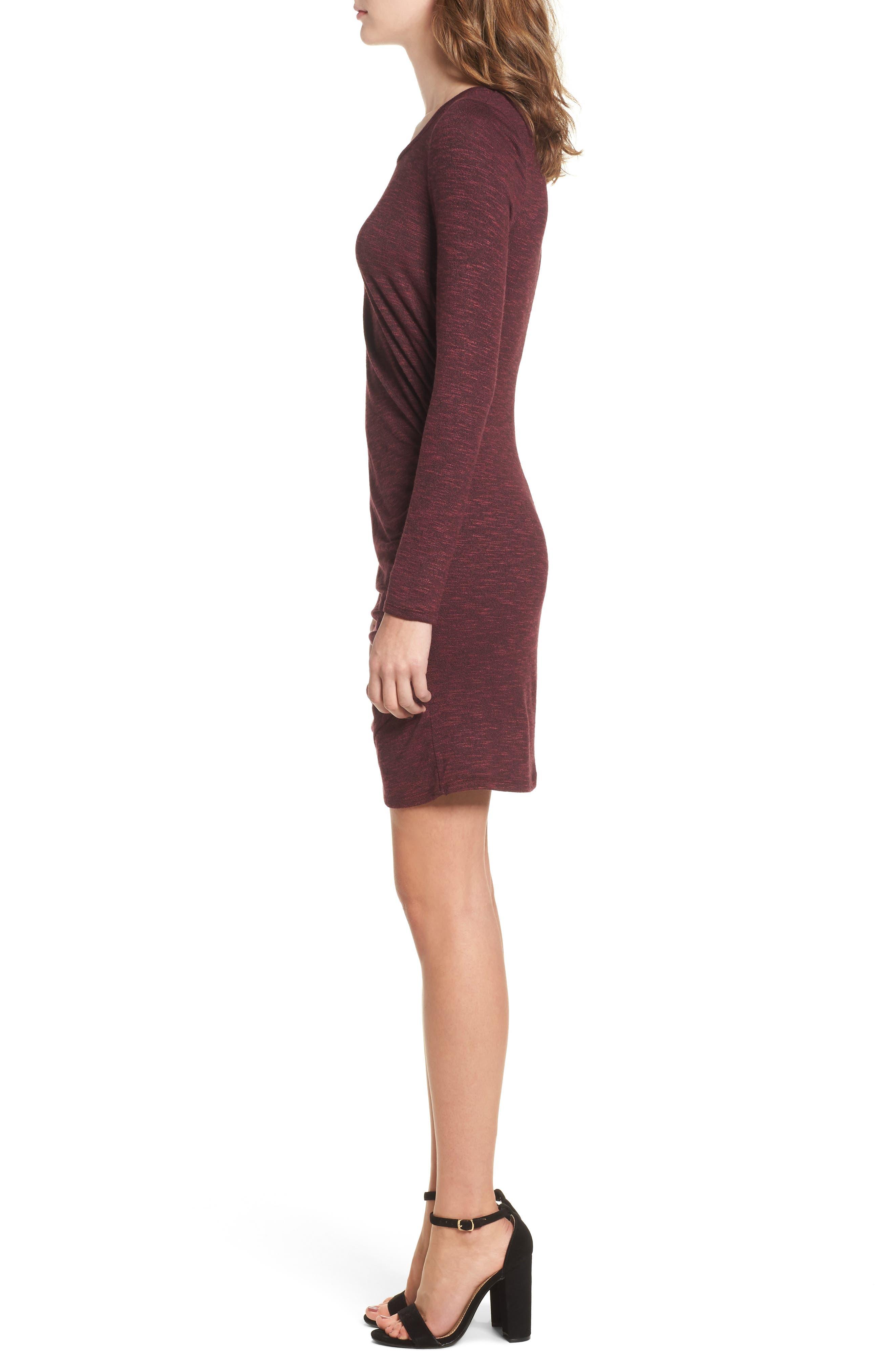 Ruched Knit Dress,                             Alternate thumbnail 3, color,                             Zinfandel