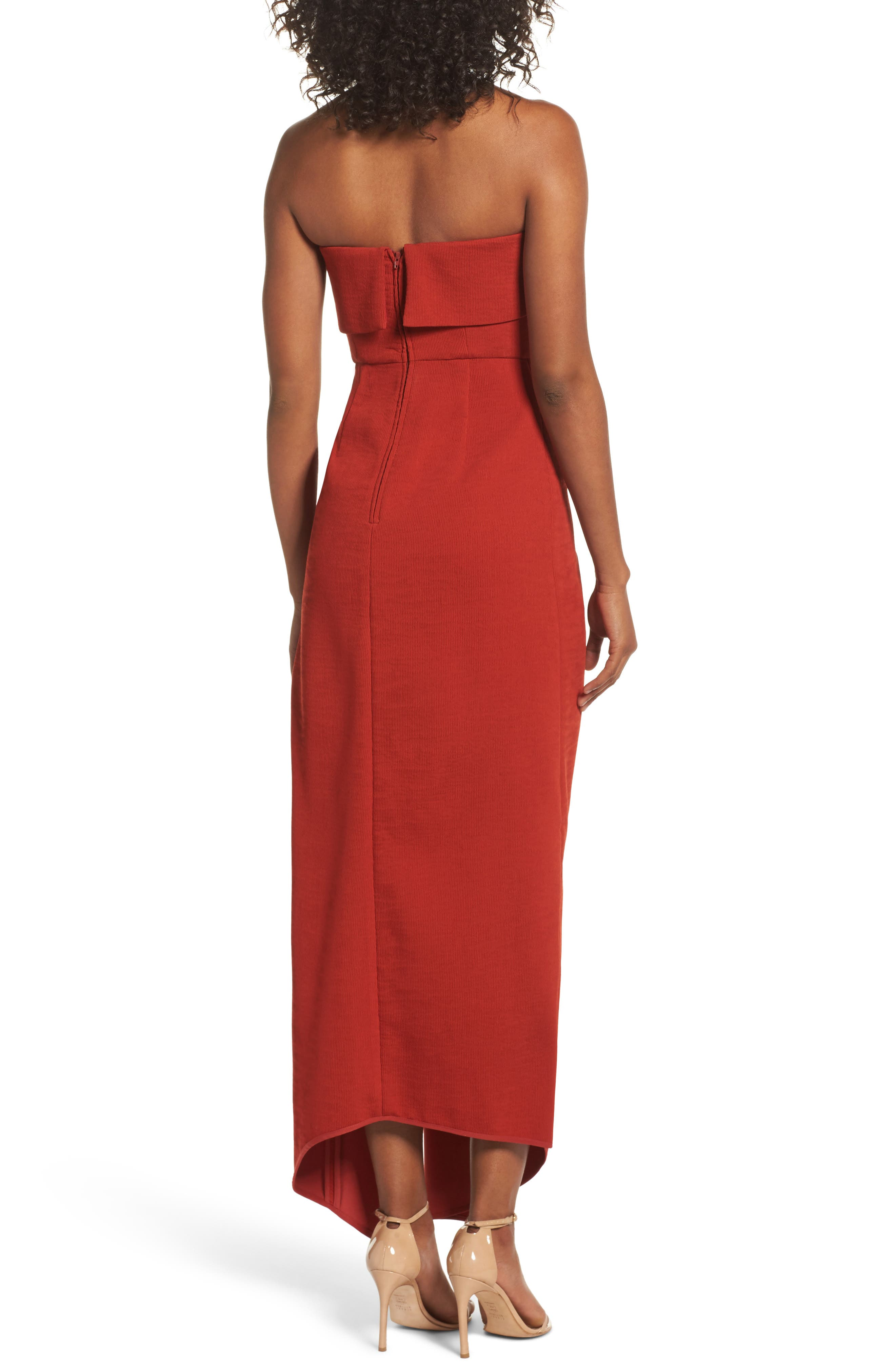 Fluidity Strapless Maxi Dress,                             Alternate thumbnail 3, color,                             Red