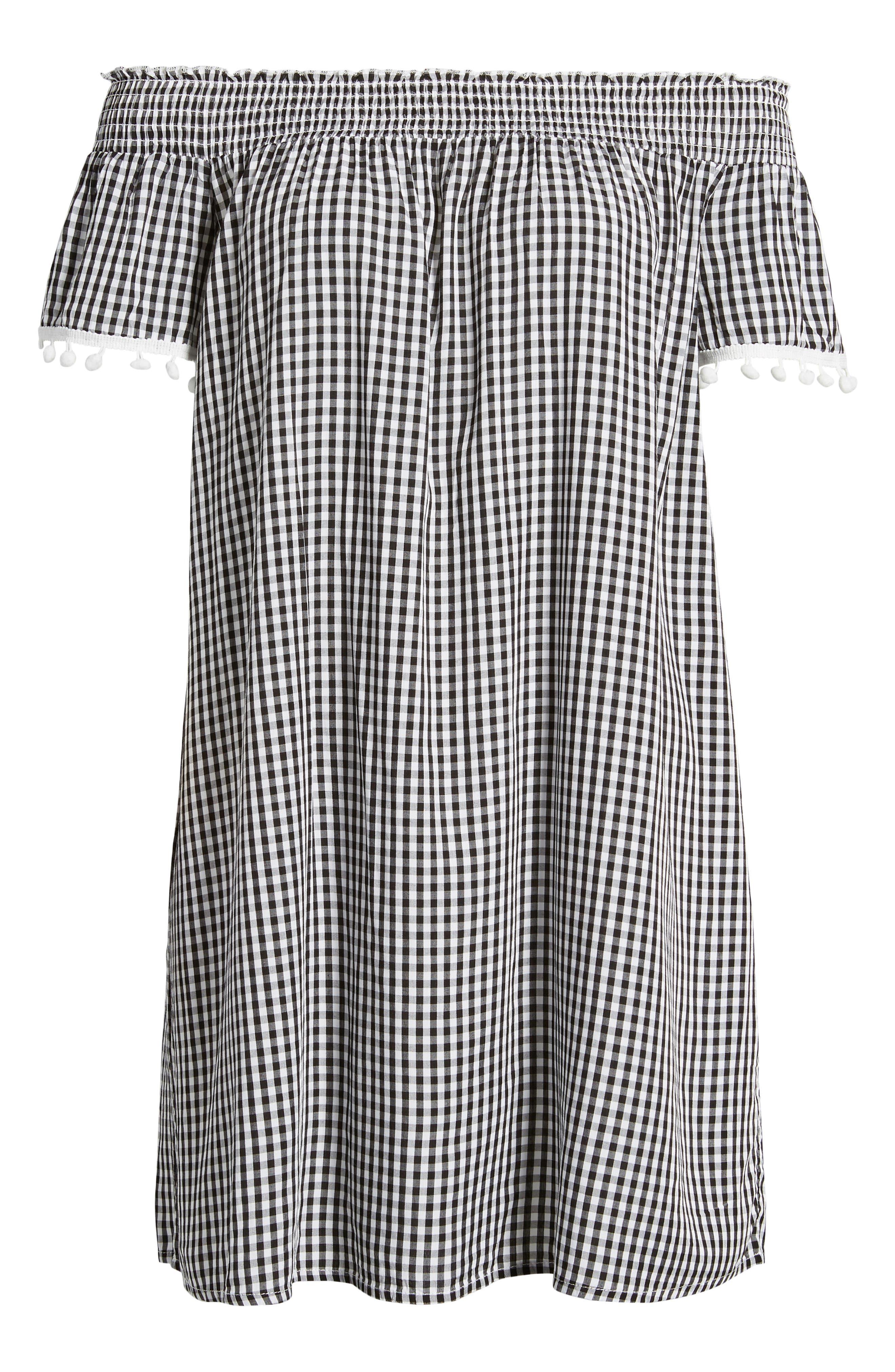 Off the Shoulder Gingham Dress,                             Alternate thumbnail 6, color,                             Black White Gingham