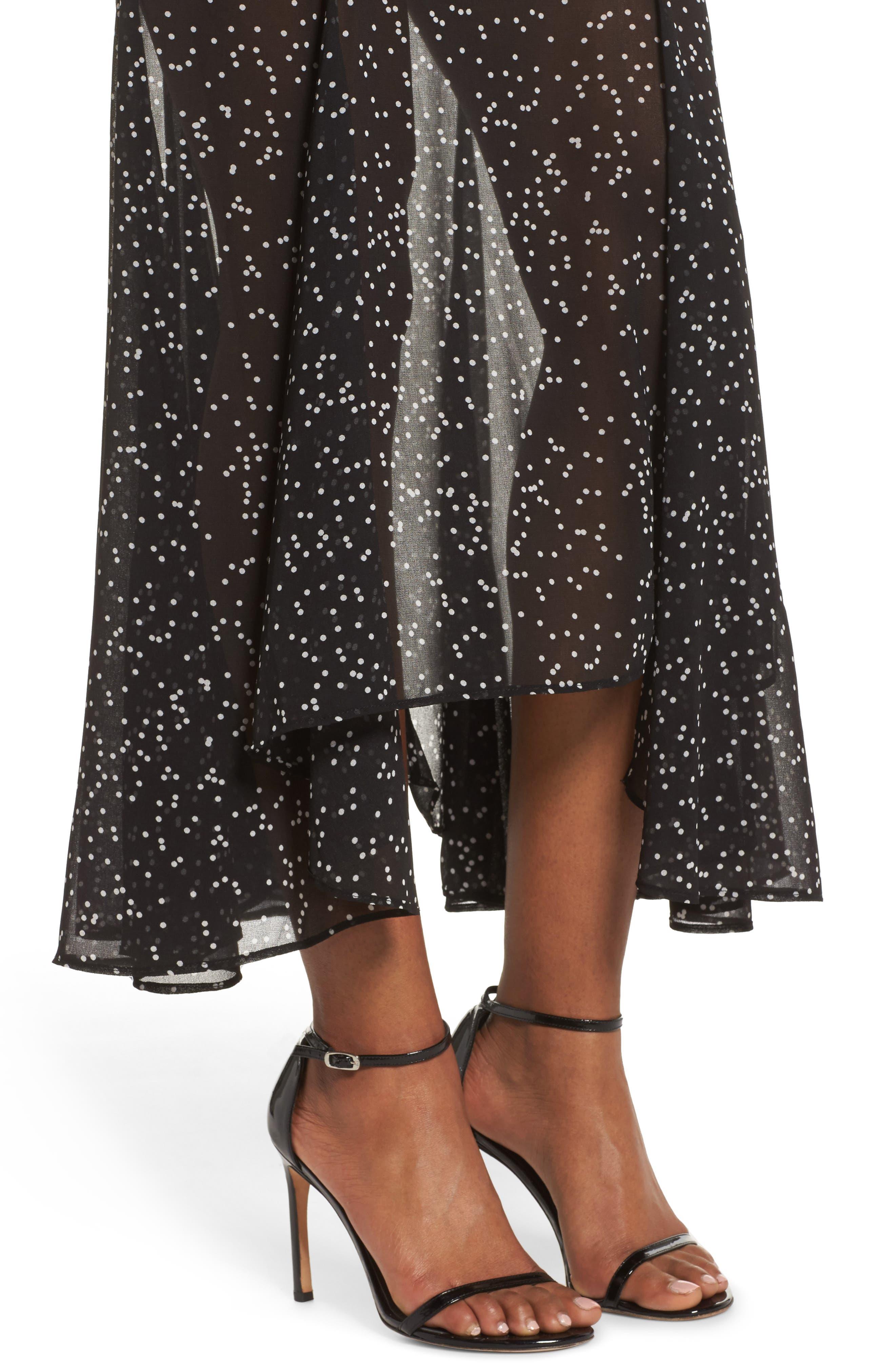 Embrace One Shoulder Dress,                             Alternate thumbnail 5, color,                             Black W White Spot