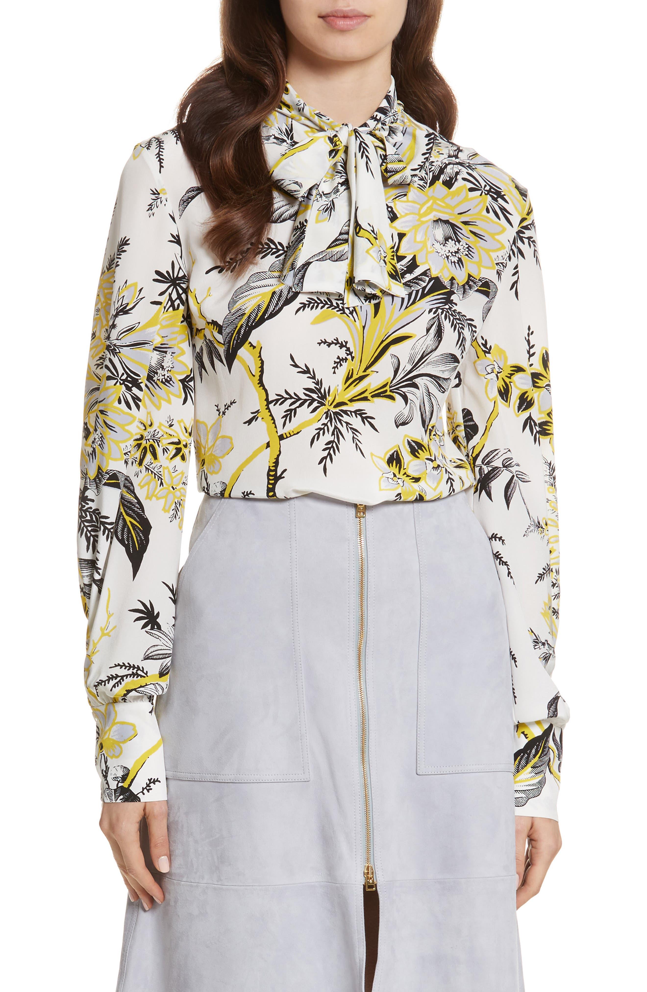 Diane von Furstenberg Tie Neck Silk Blouse,                             Main thumbnail 1, color,                             Avalon Ivory