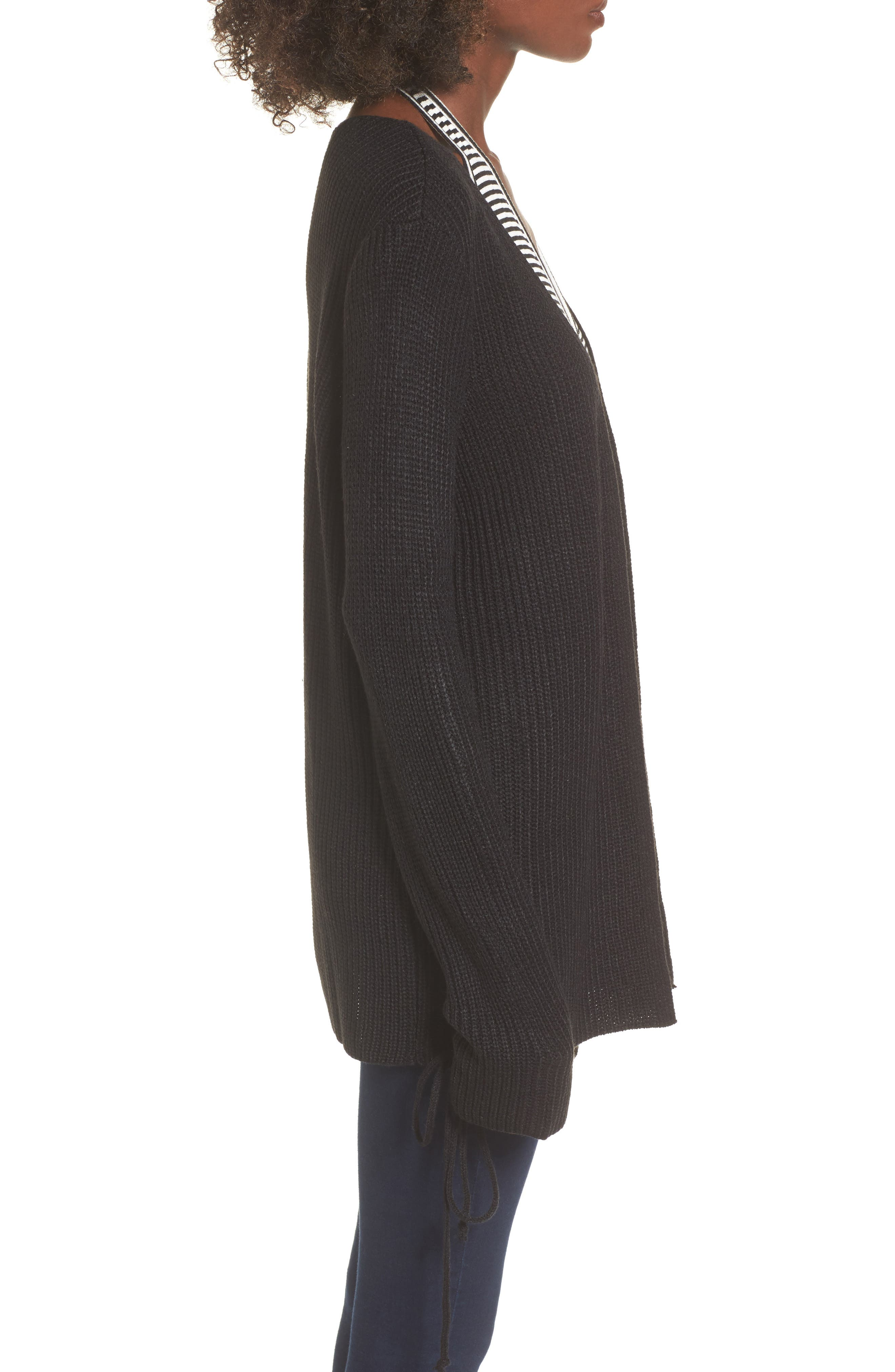 Tie Sleeve Cardigan,                             Alternate thumbnail 3, color,                             Black