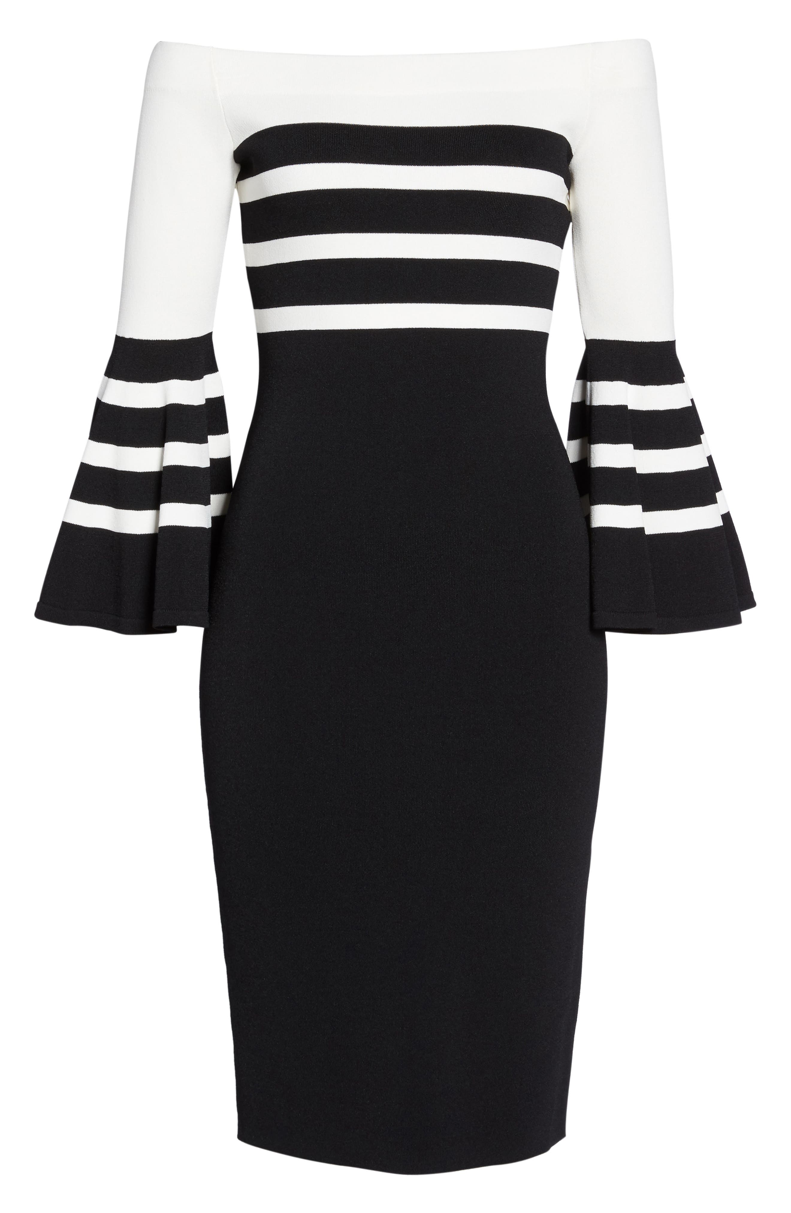 Off the Shoulder Sweater Dress,                             Alternate thumbnail 6, color,                             Black/ White Stripe