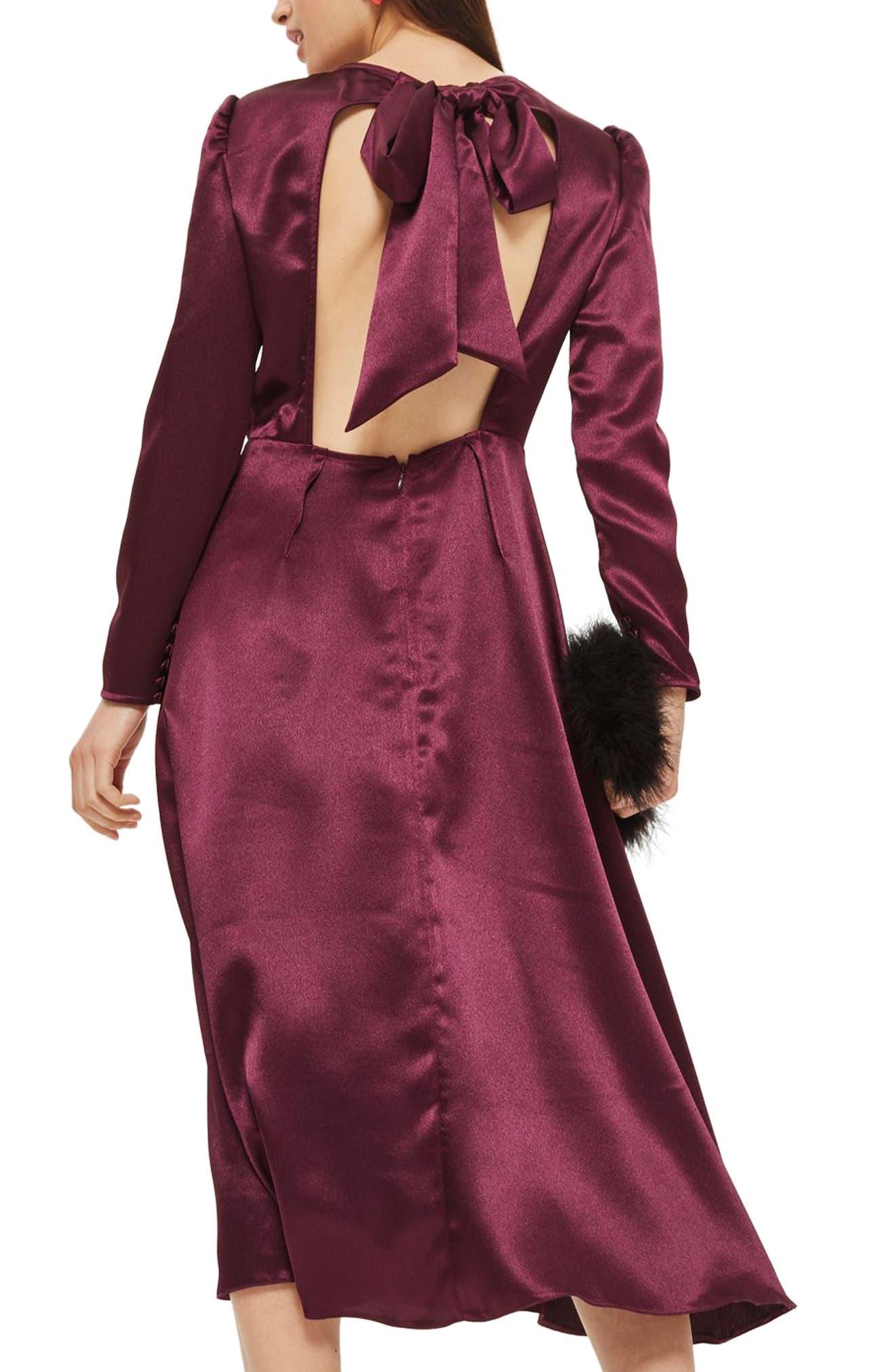 Shimmer Satin Tie Back Midi Dress,                             Alternate thumbnail 2, color,                             Burgundy