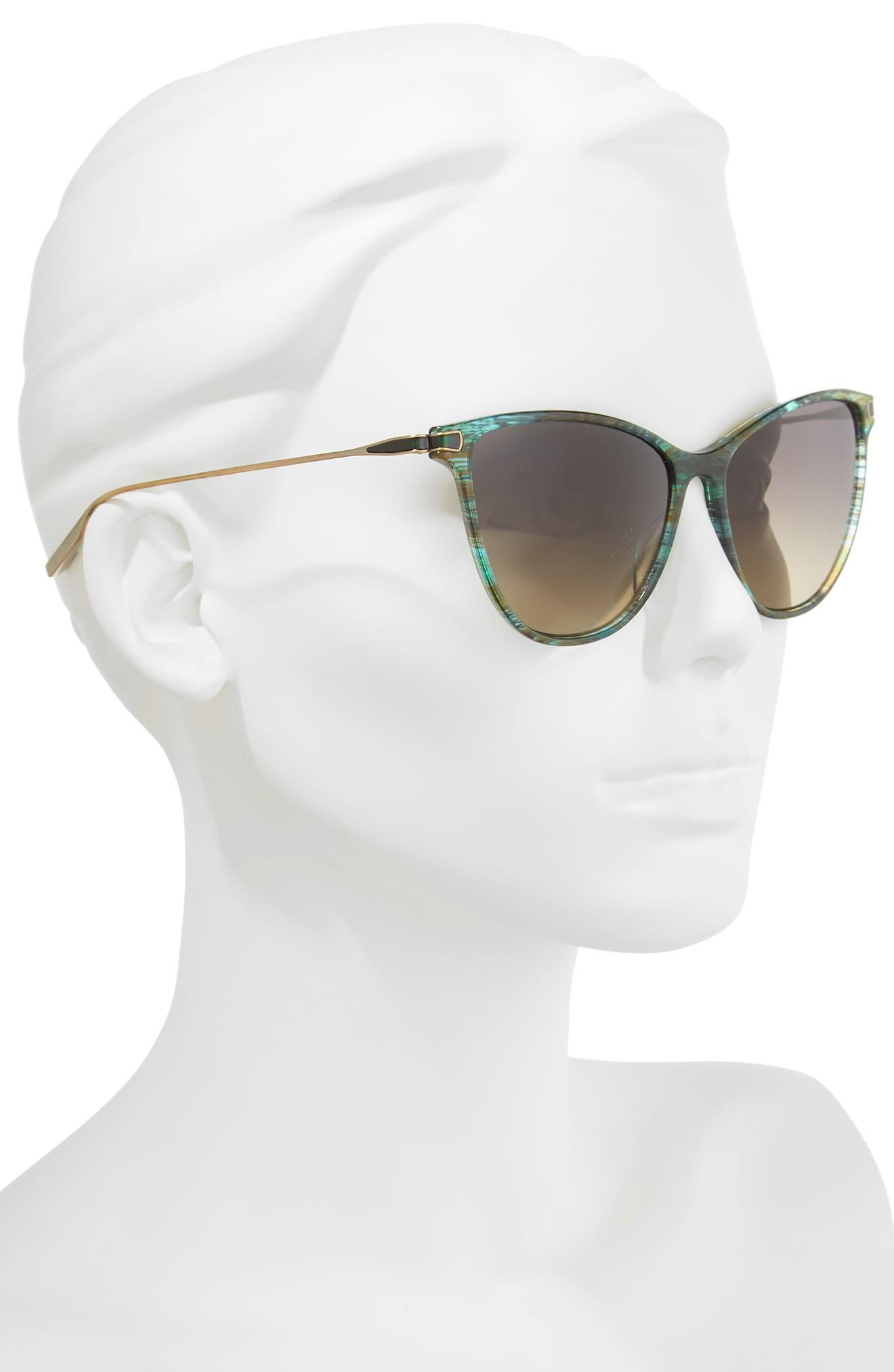 Nia 58mm Polarized Cat Eye Sunglasses,                             Alternate thumbnail 2, color,                             Sandy Sea Green