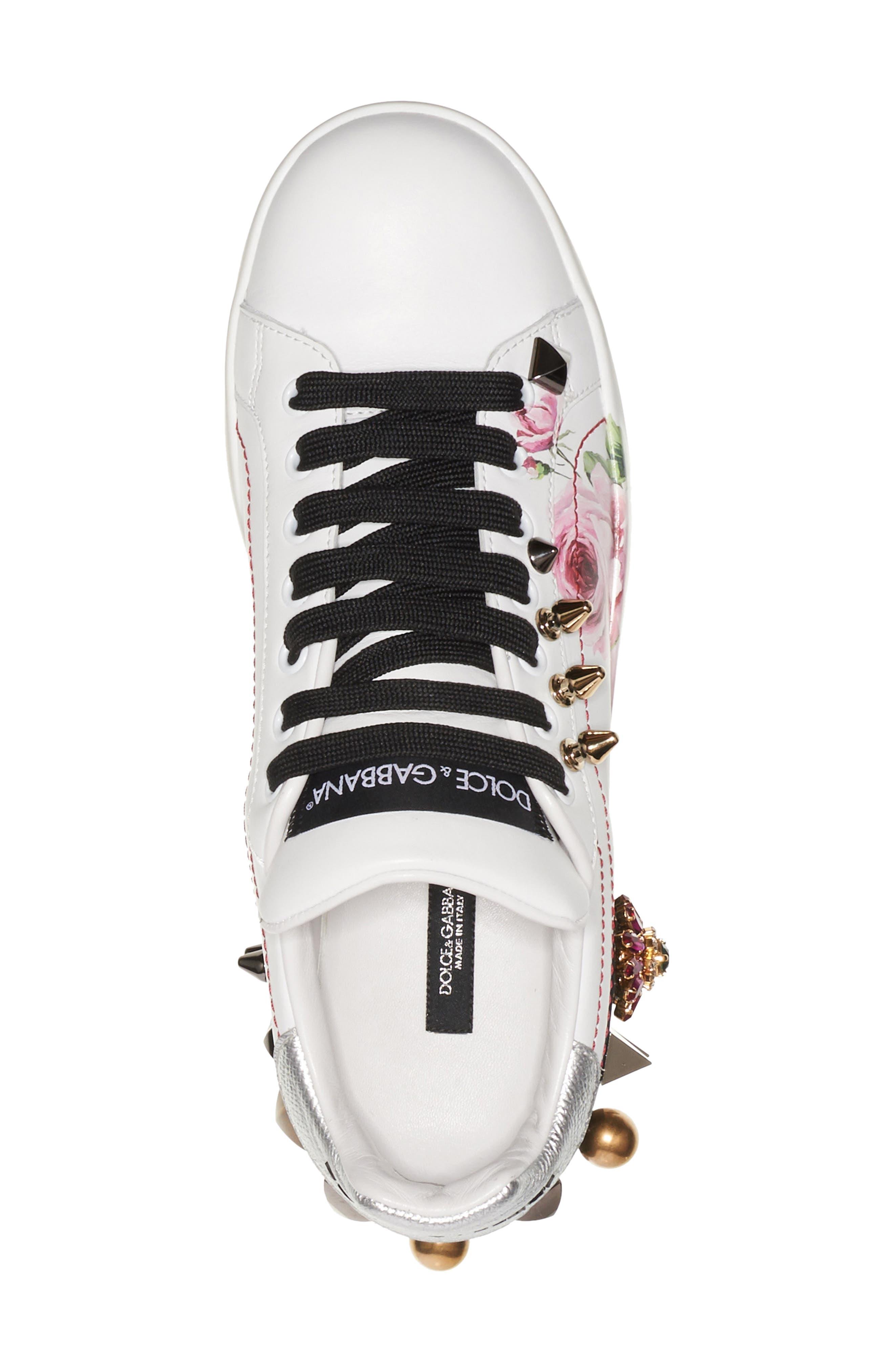 Floral Embellished Sneaker,                             Alternate thumbnail 4, color,                             White/ Pink Floral