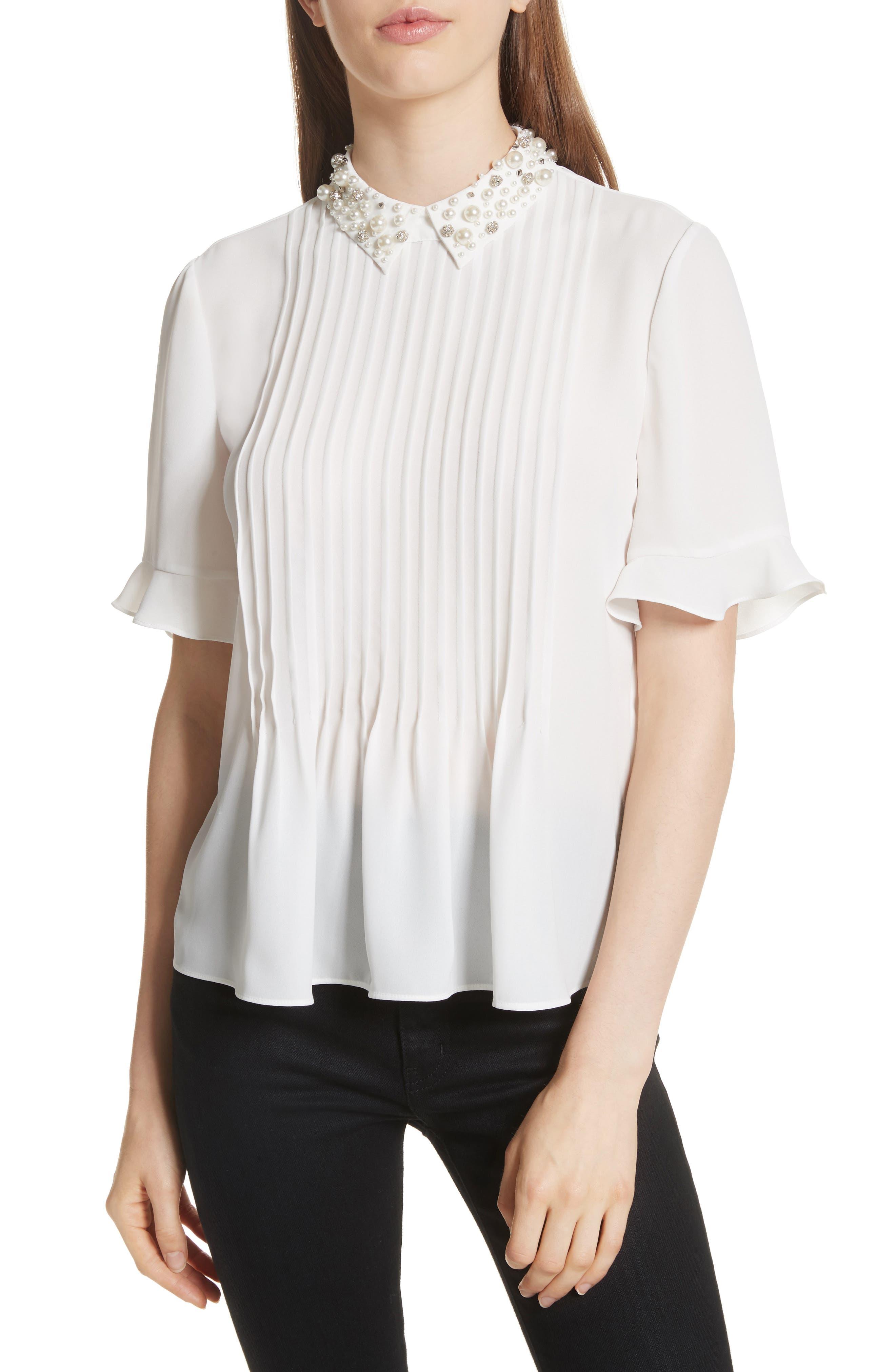 embellished collar shirt,                         Main,                         color, Cream