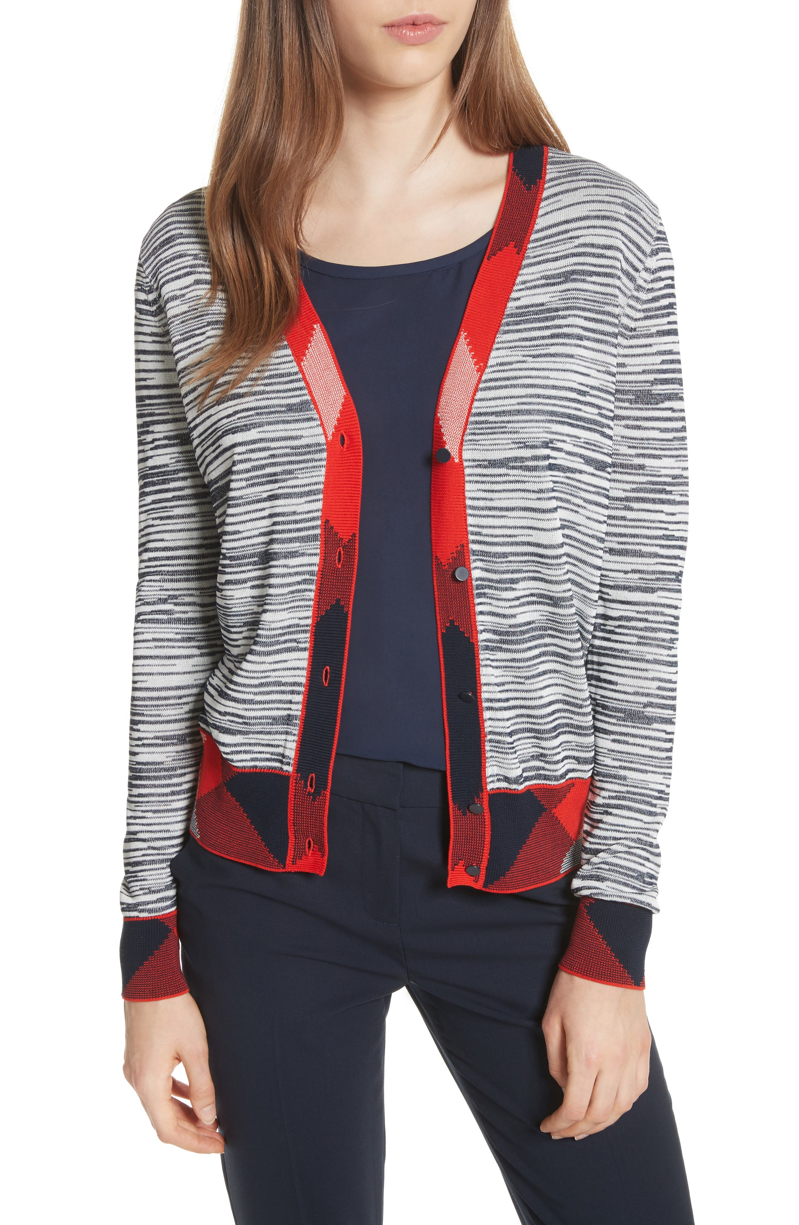 Arielle Cardigan,                         Main,                         color, Tory Navy/ New Ivory/ Red