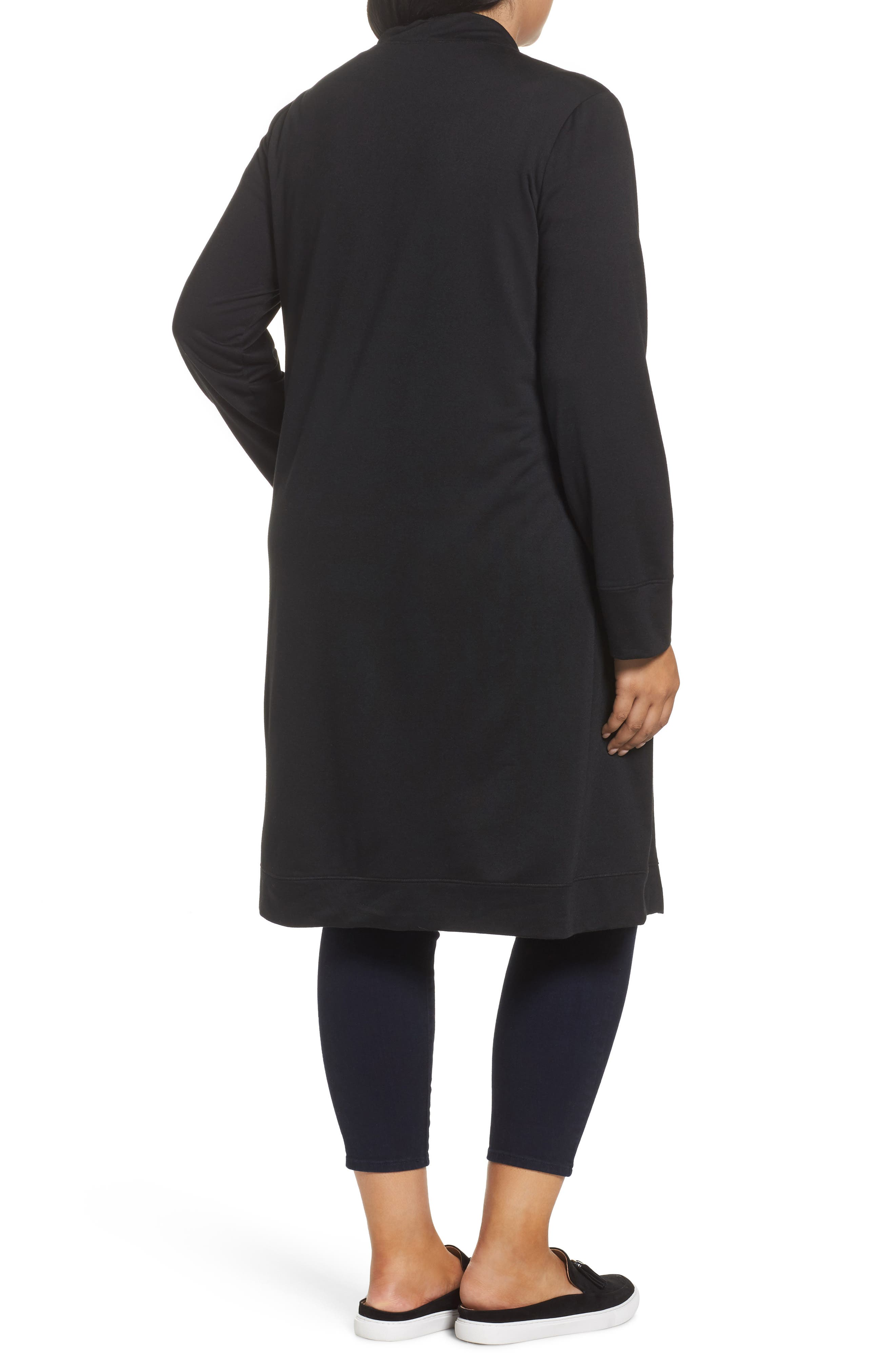 Long French Terry Cardigan,                             Alternate thumbnail 2, color,                             Black