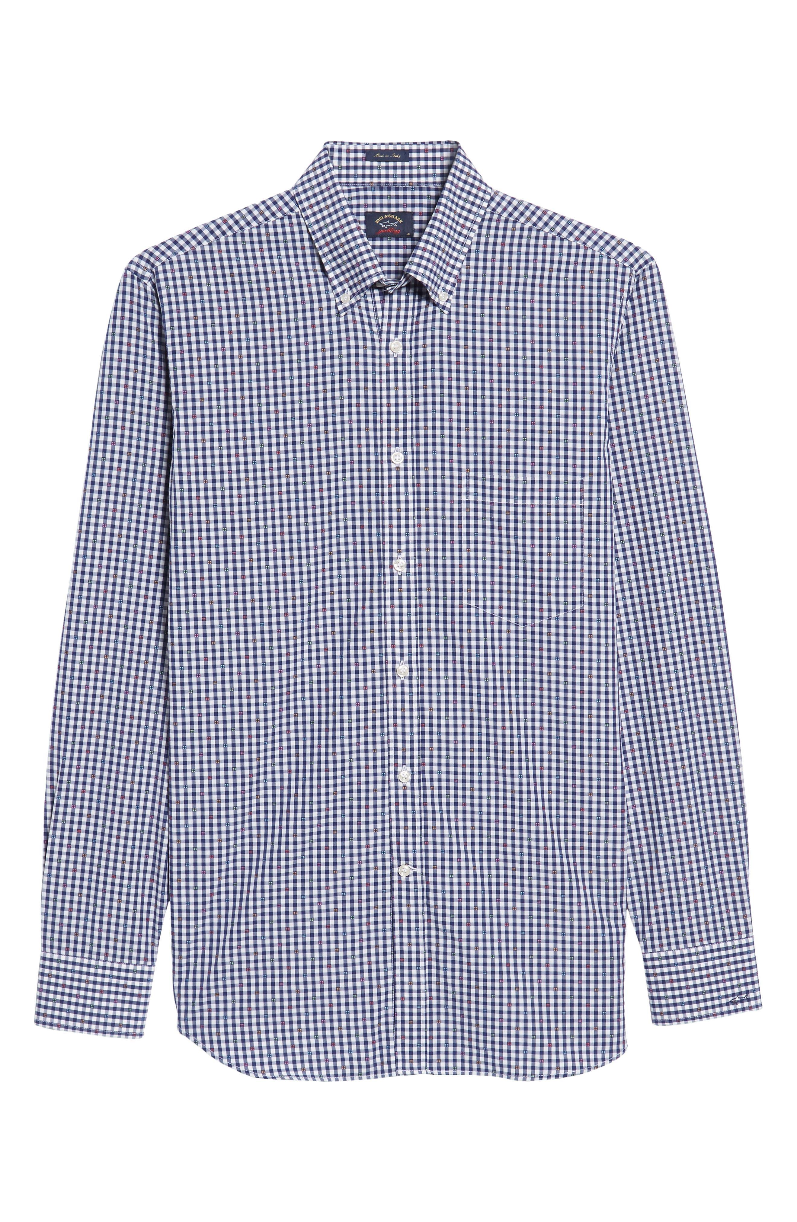 Paul&Shark Regular Fit Jacquard Check Sport Shirt,                             Alternate thumbnail 6, color,                             Navy/ White