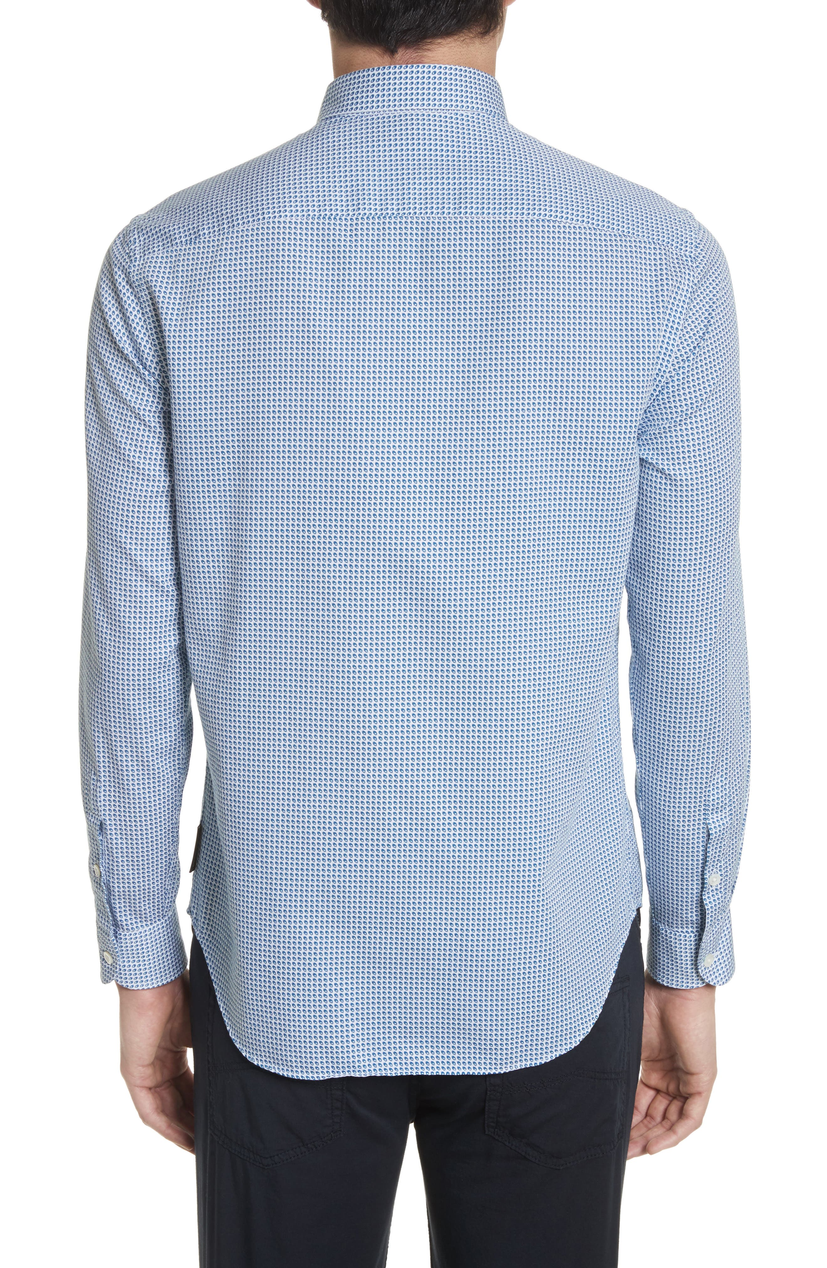 Geo Print Regular Fit Sport Shirt,                             Alternate thumbnail 2, color,                             Blue