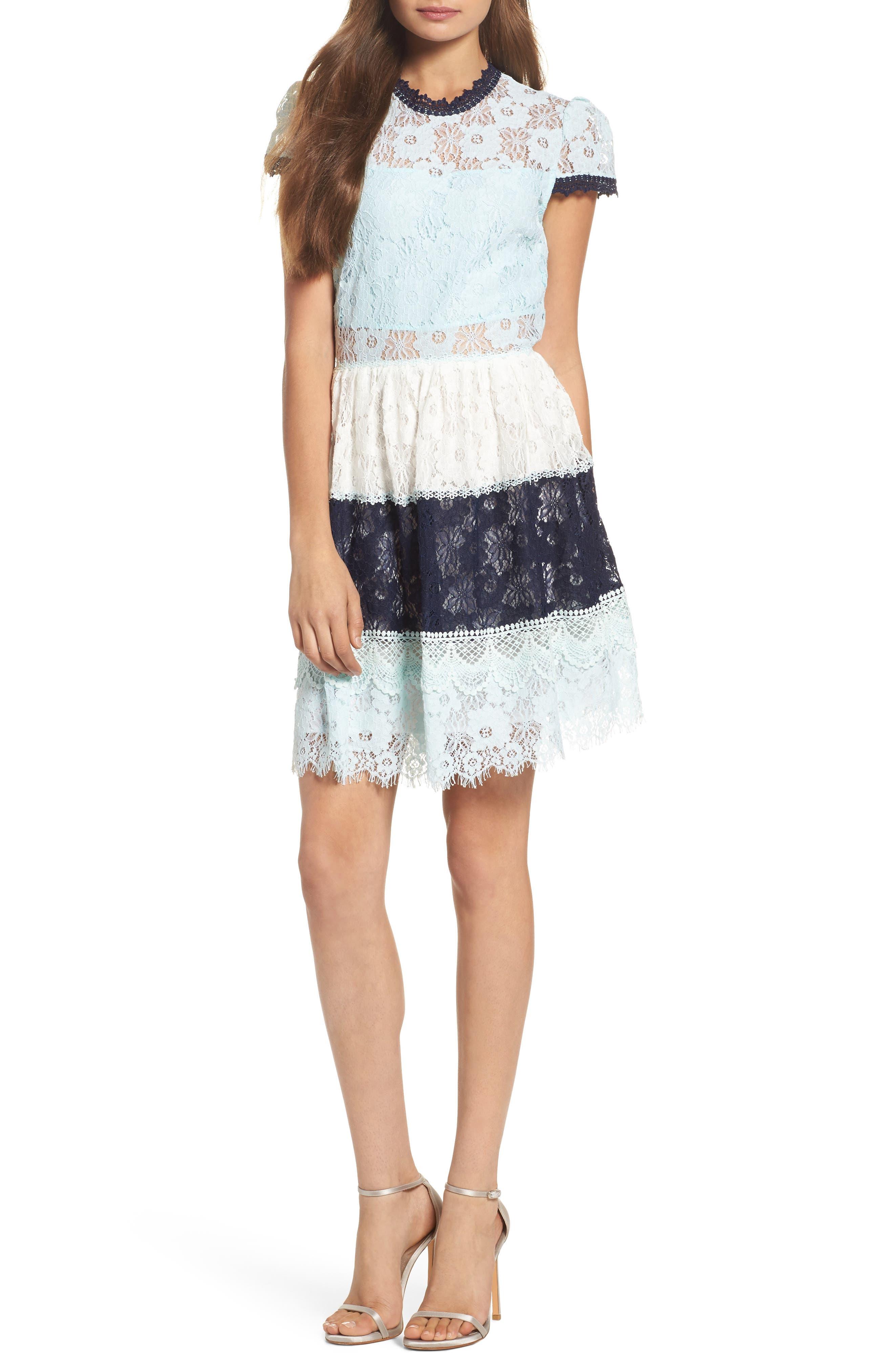 Amelia Lace Fit & Flare Dress,                             Main thumbnail 1, color,                             Sky Block