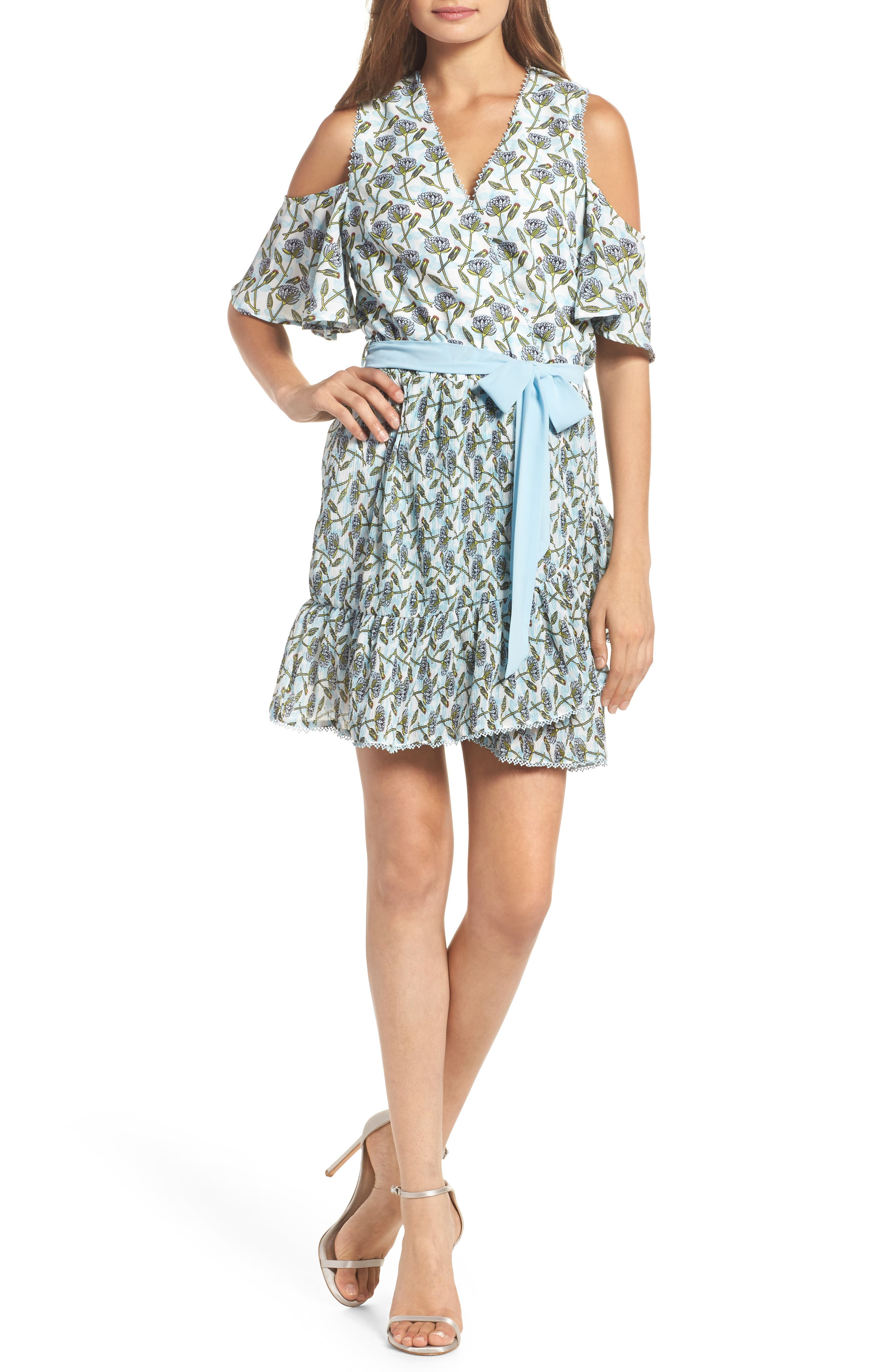 Main Image - Foxiedox Lexie Cold Shoulder Wrap Dress