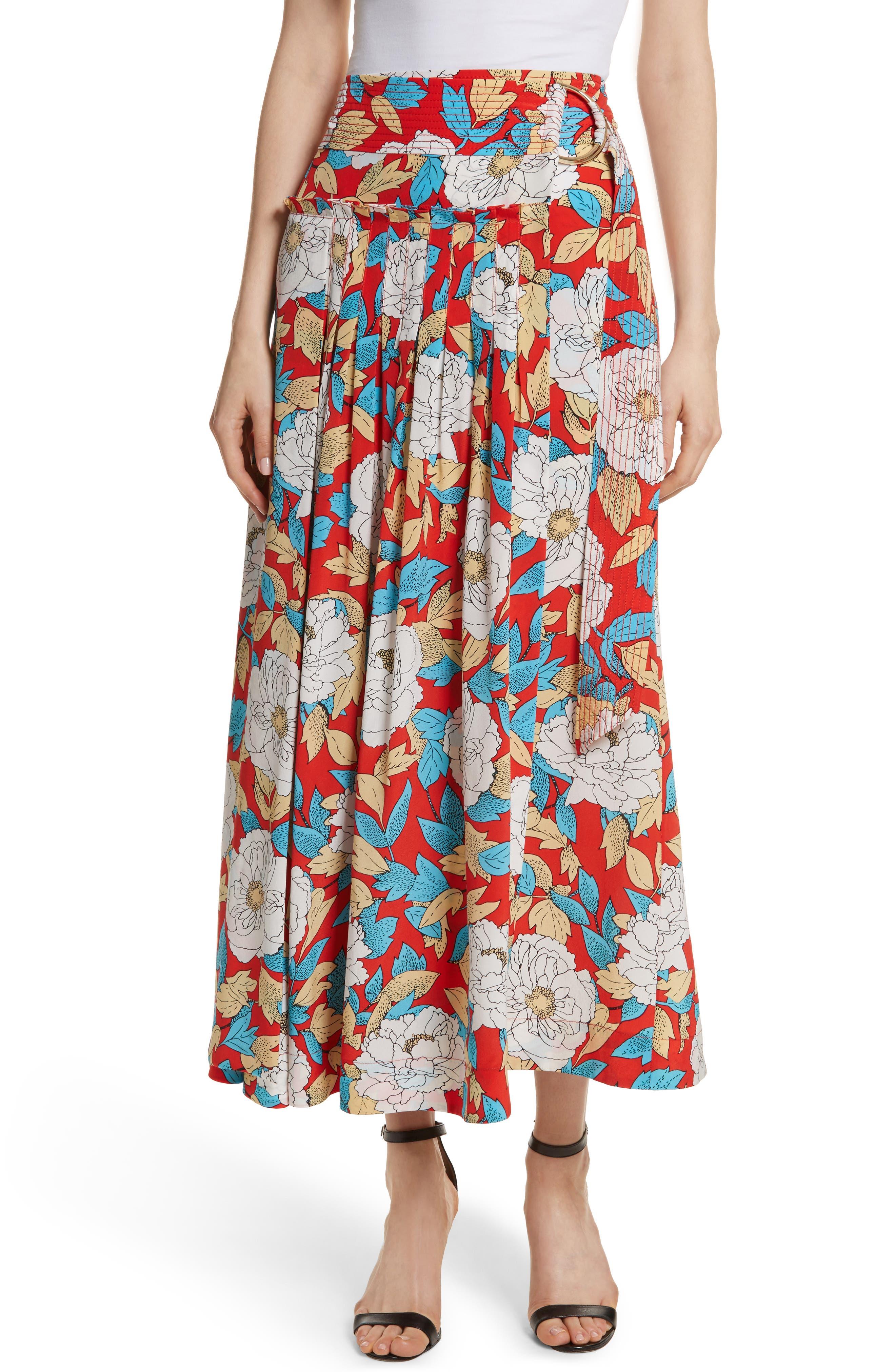 Diane von Furstenberg Floral Silk Midi Skirt,                             Main thumbnail 1, color,                             Boswell Poppy