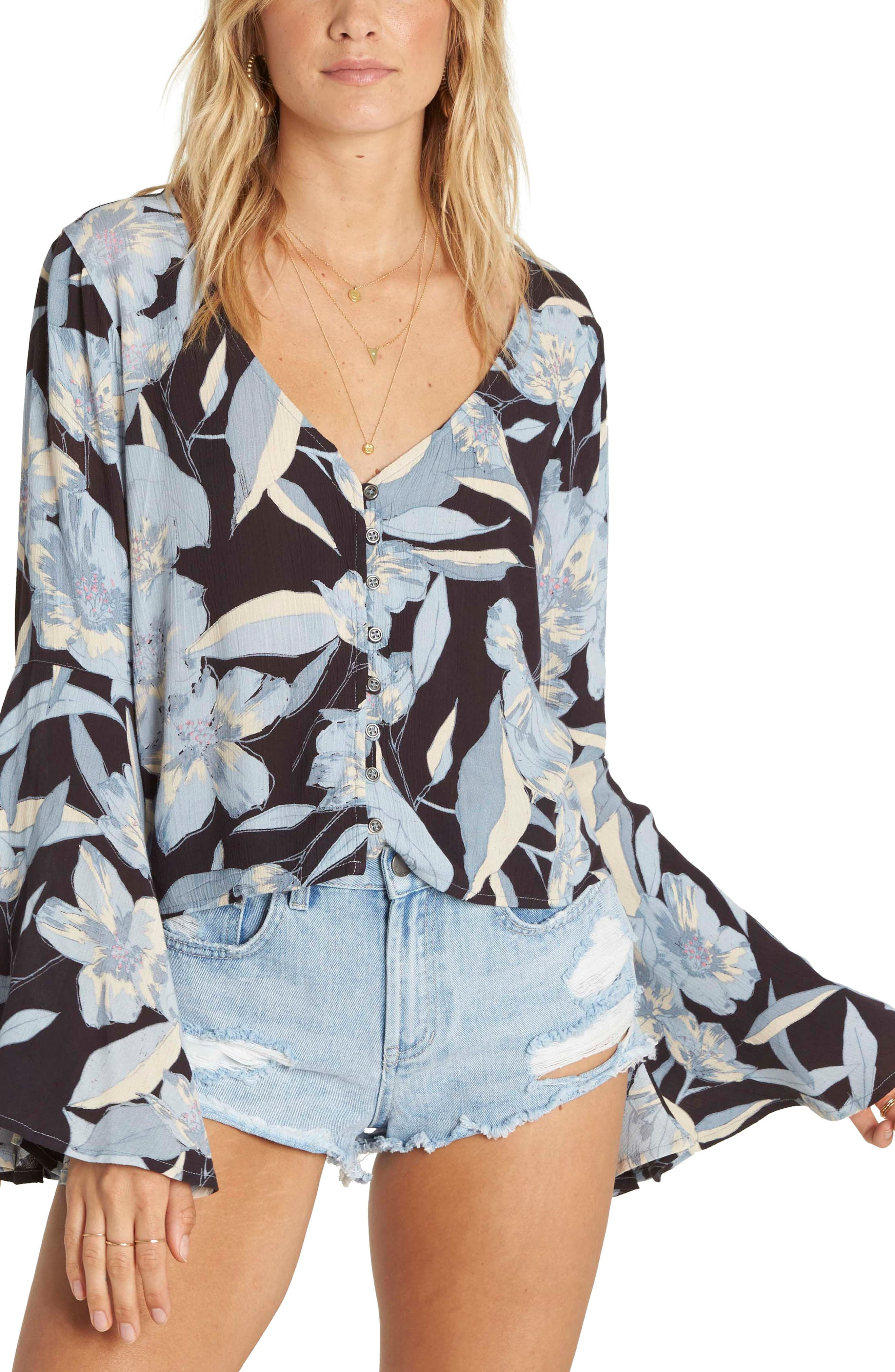 Pretty Daylight Bell Sleeve Top,                         Main,                         color, Clearwater
