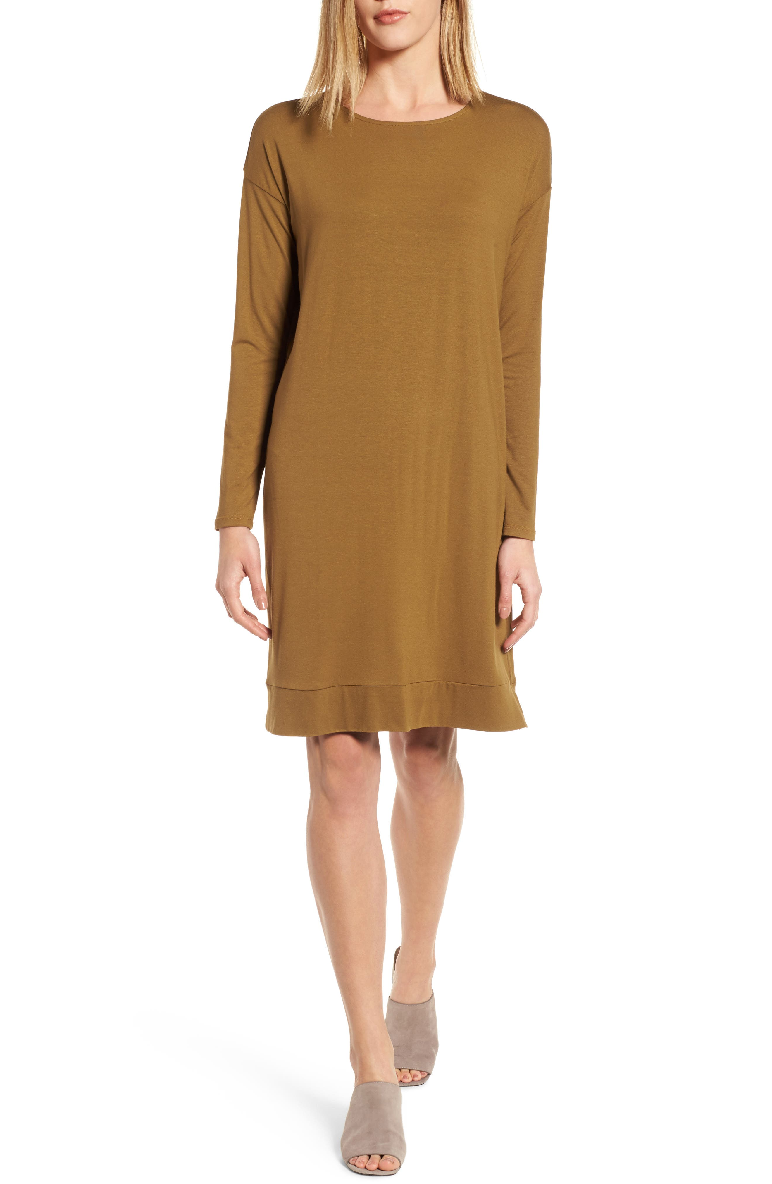 Eileen Fisher Long Sleeve Jersey Shift Dress (Regular & Petite)