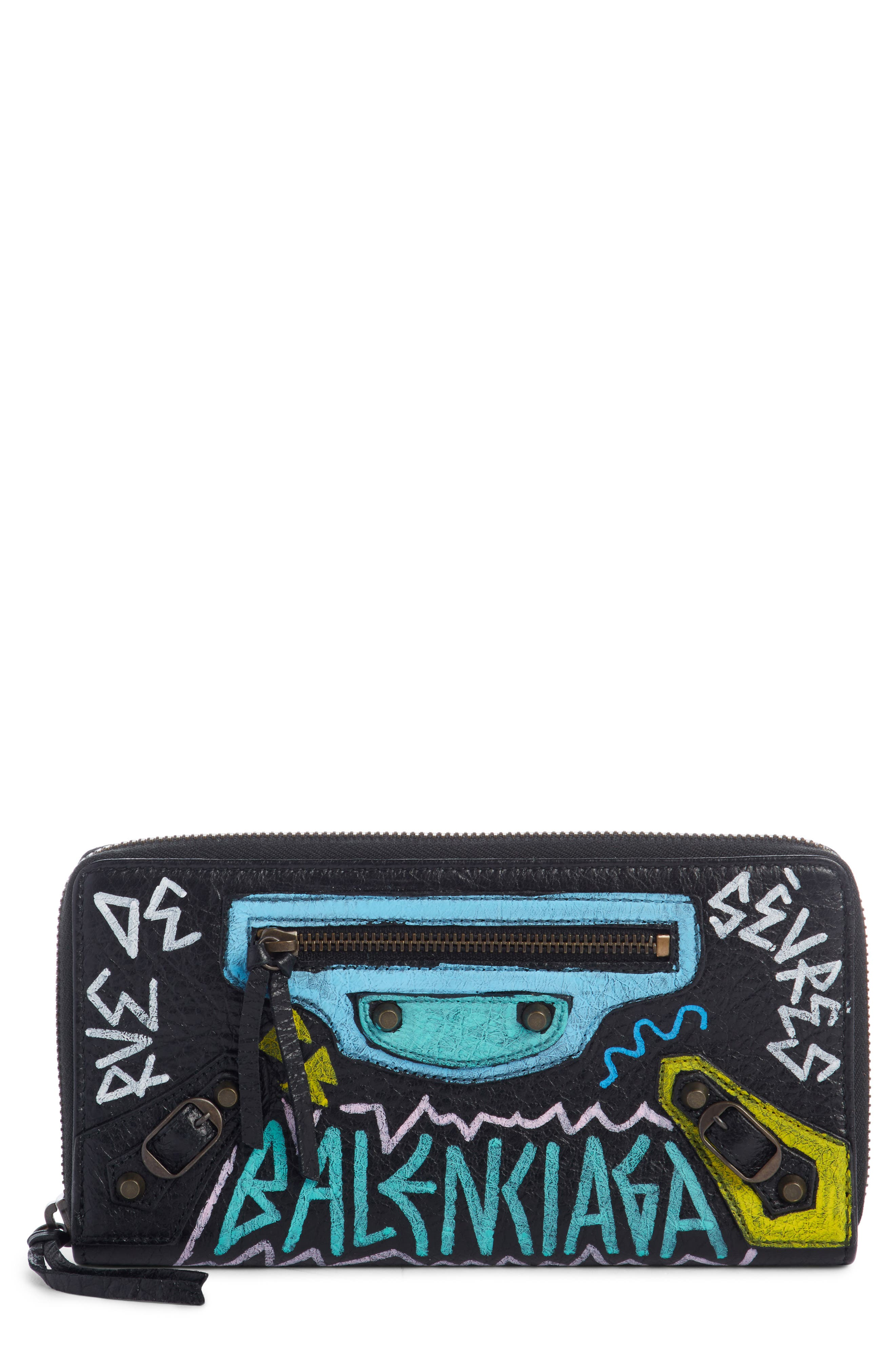 Balenciaga Classic Graffiti Zip Around Calfskin Leather Wallet