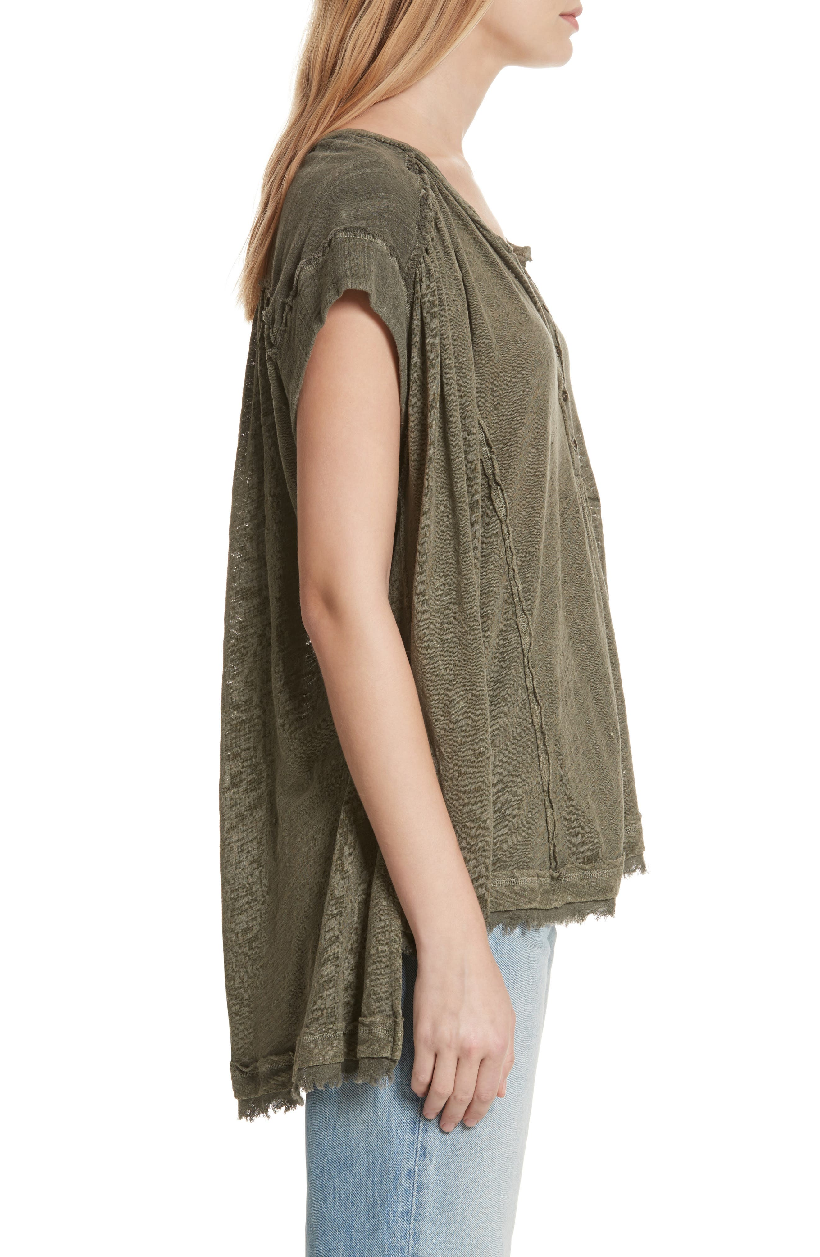 Aster Henley Top,                             Alternate thumbnail 3, color,                             Army