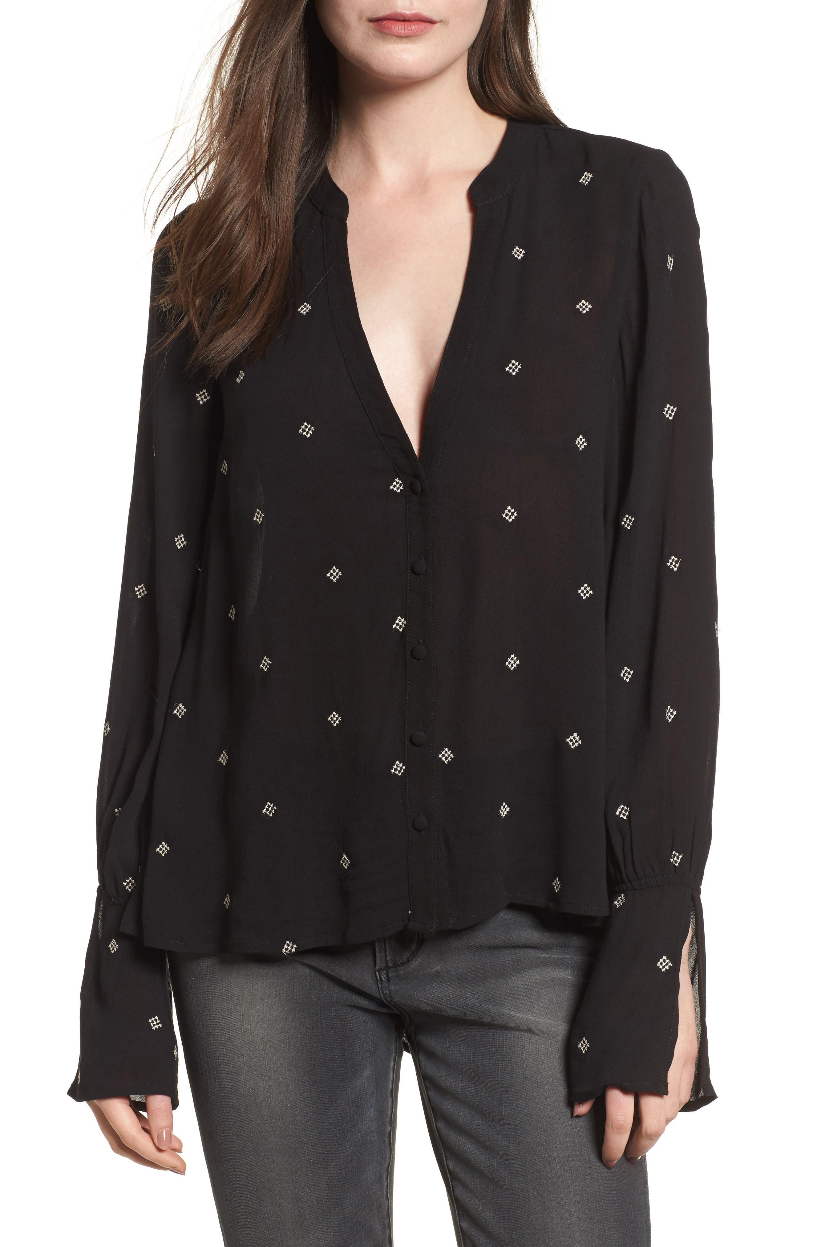 Split Neck Button Front Shirt,                             Main thumbnail 1, color,                             Black