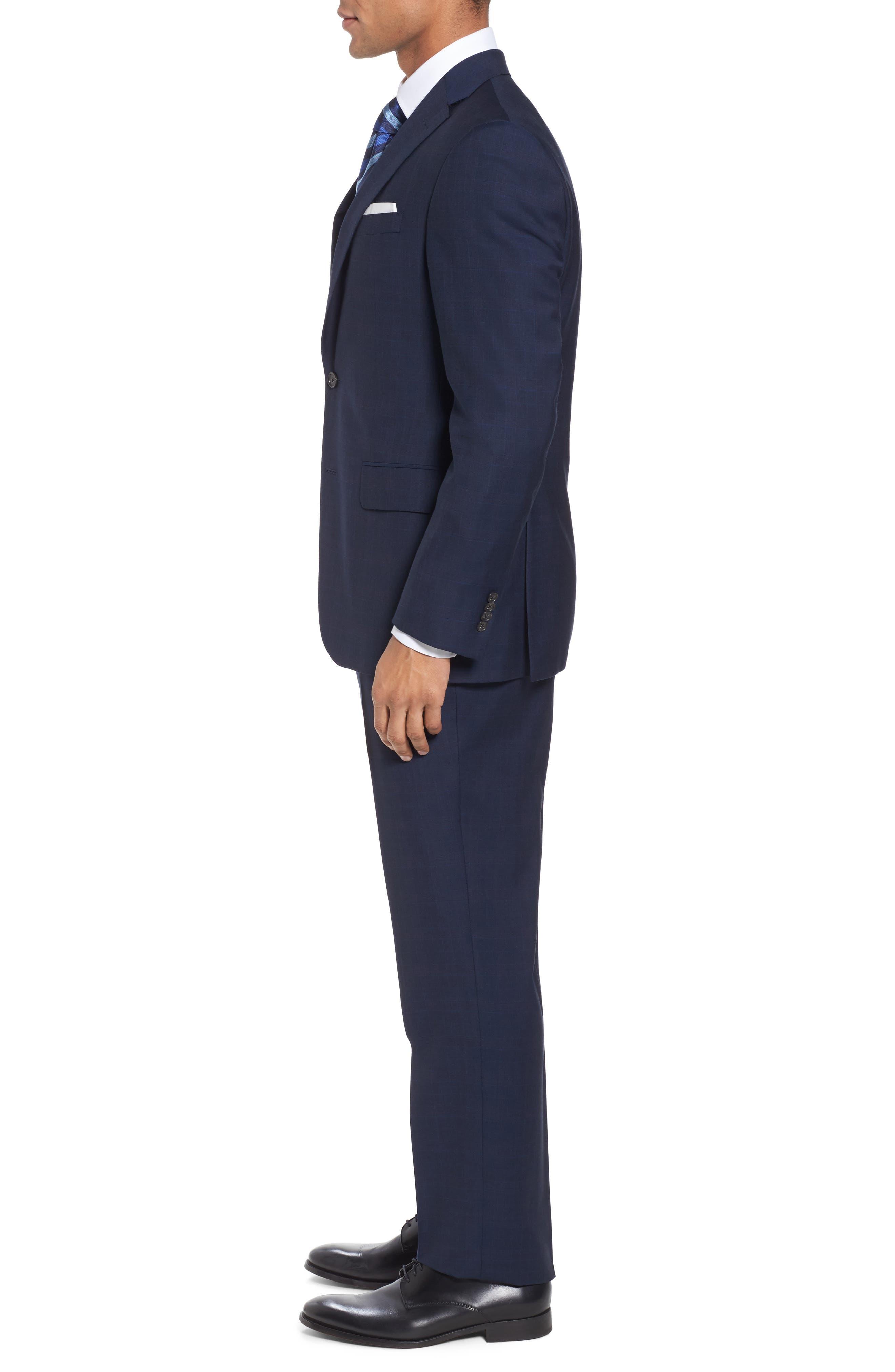 Ryan Classic Fit Plaid Wool Suit,                             Alternate thumbnail 3, color,                             Navy