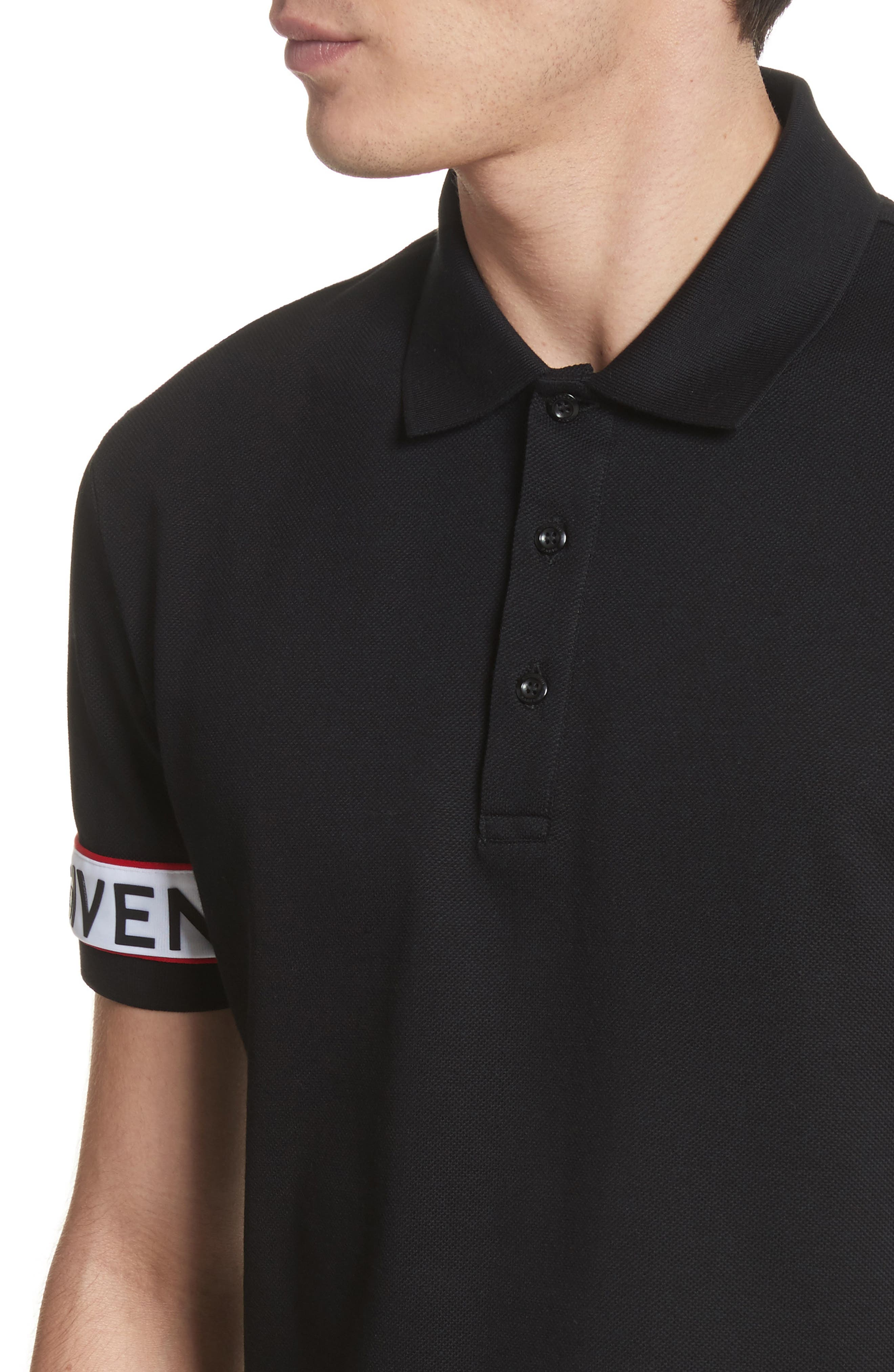 Givenchcy Logo Polo Shirt,                             Alternate thumbnail 4, color,                             Black
