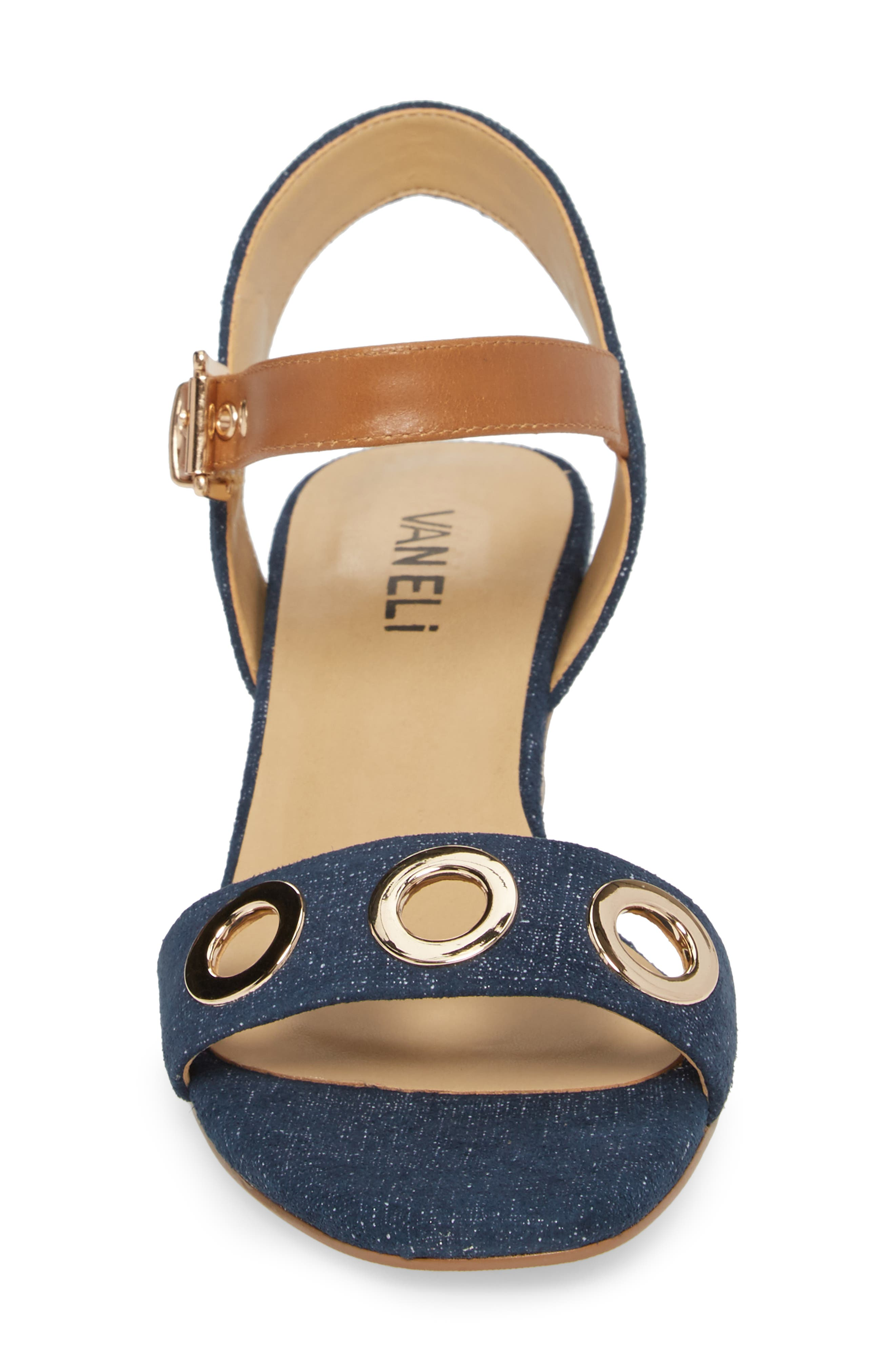 Chaddy Sandal,                             Alternate thumbnail 4, color,                             Jeans Printed Suede