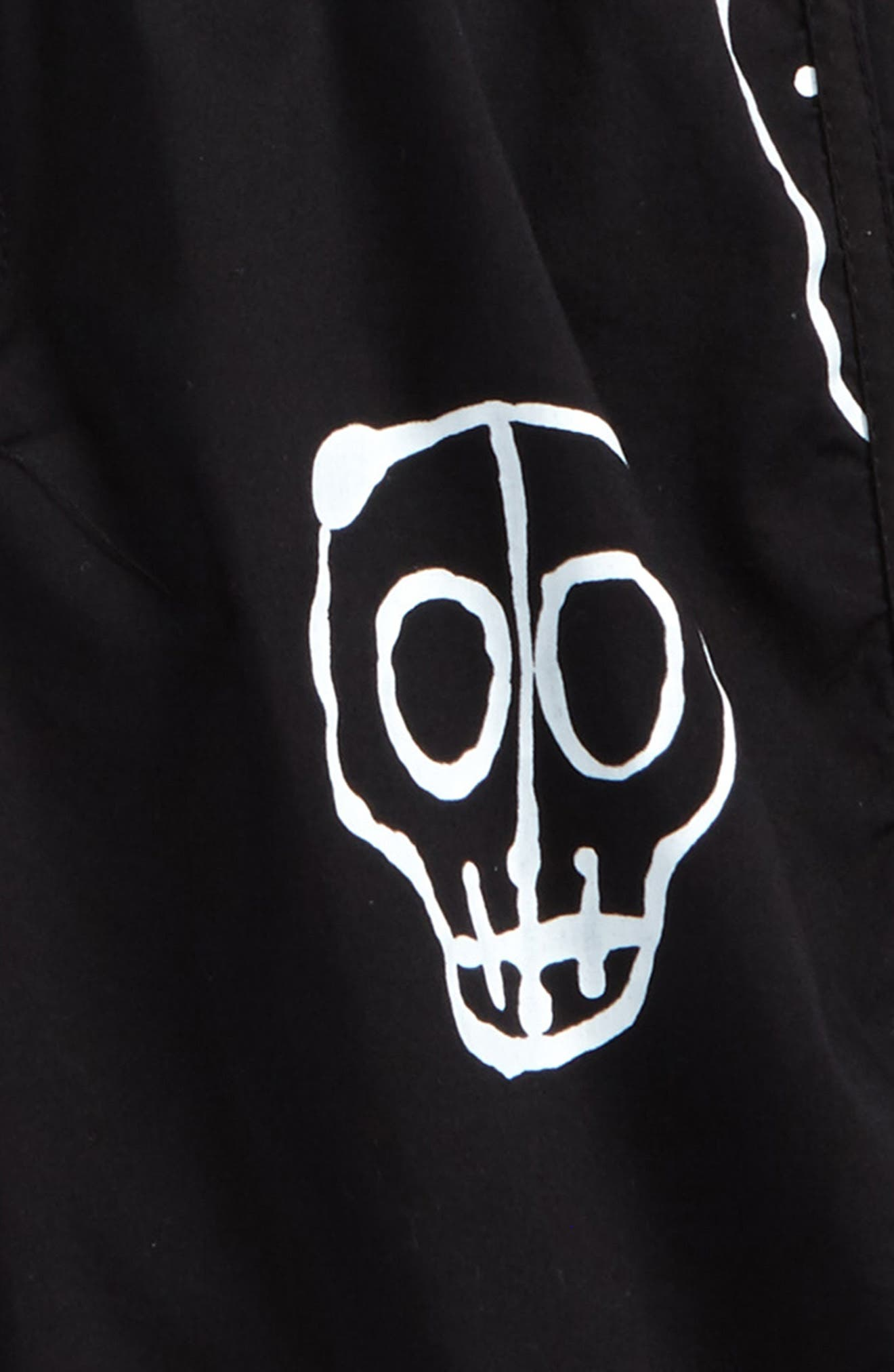 Skull Mask Board Shorts,                             Alternate thumbnail 2, color,                             Black