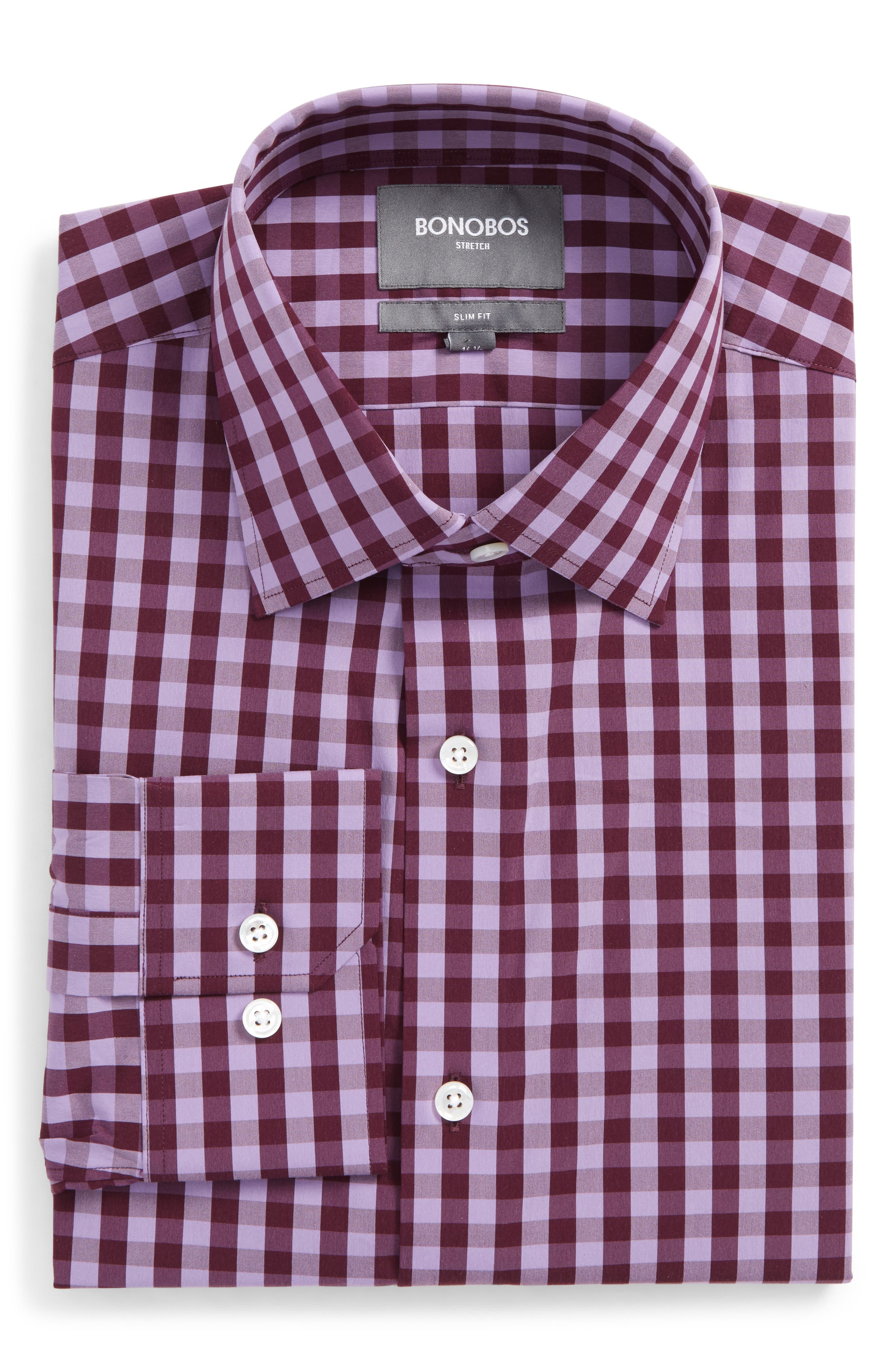 Slim Fit Stretch Check Dress Shirt,                             Main thumbnail 1, color,                             Pure Lavender