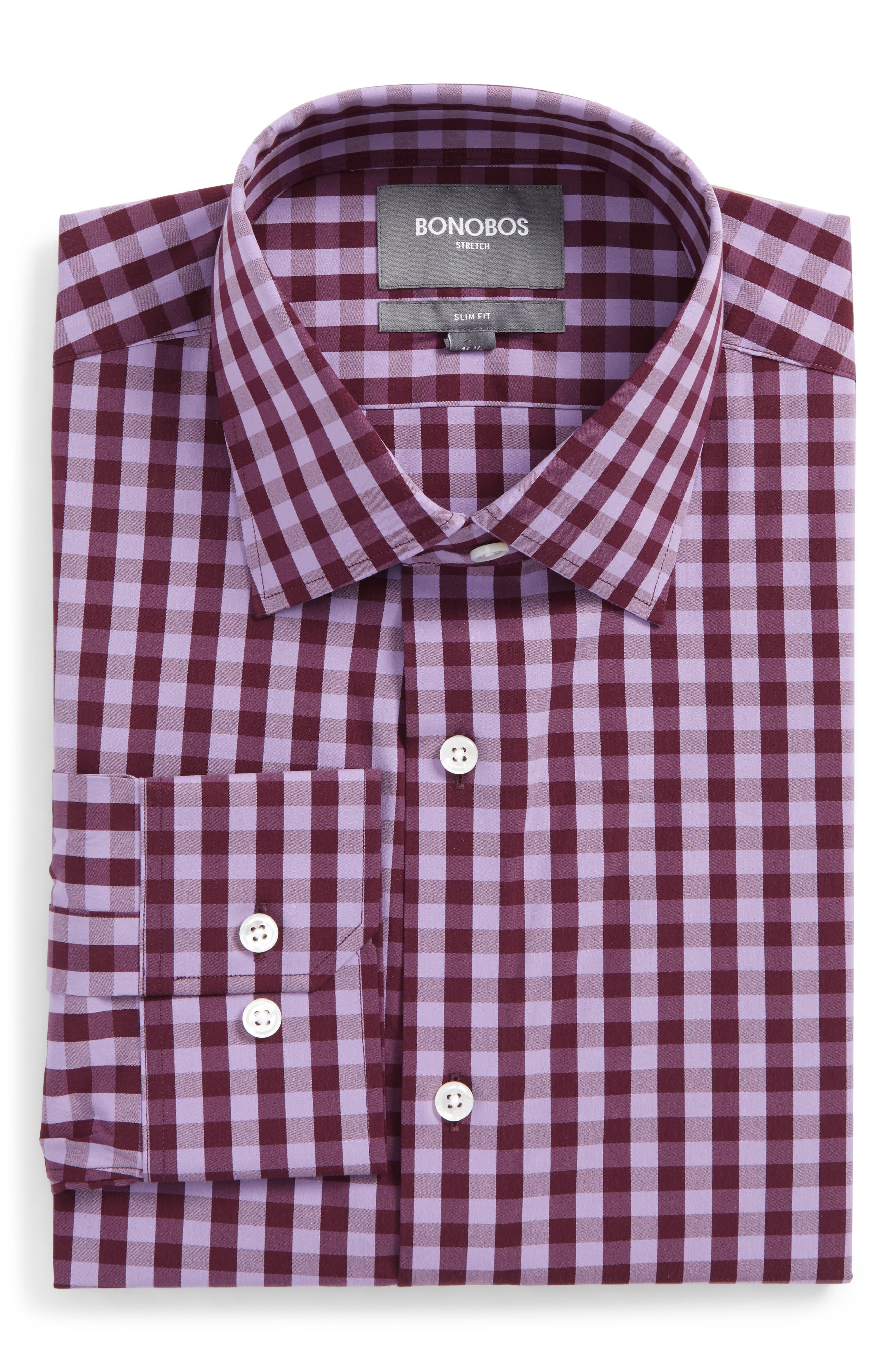 Slim Fit Stretch Check Dress Shirt,                         Main,                         color, Pure Lavender