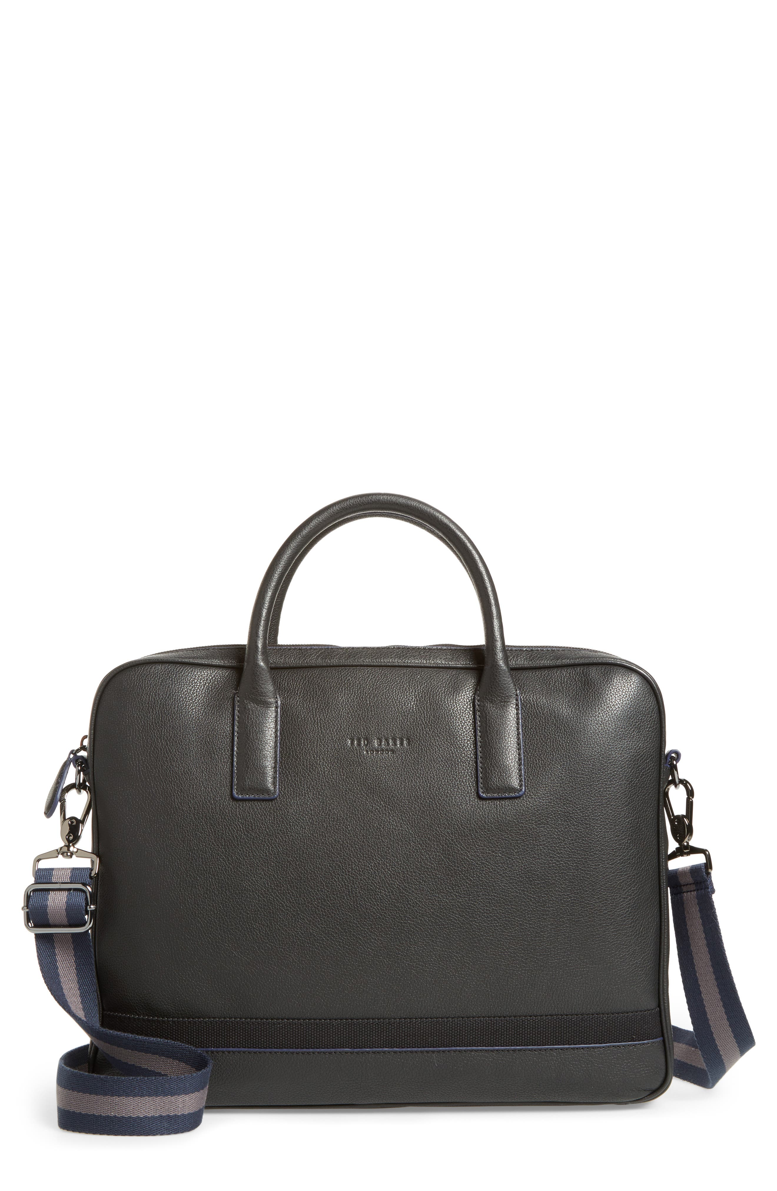 Lowmee Leather Briefcase,                         Main,                         color, Black