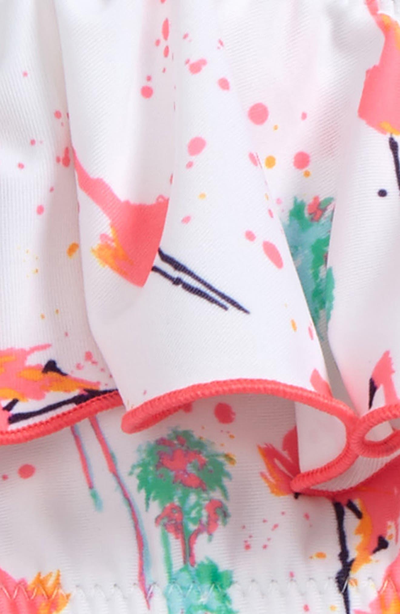 Flamingo Two-Piece Swimsuit,                             Alternate thumbnail 2, color,                             White Flamingo