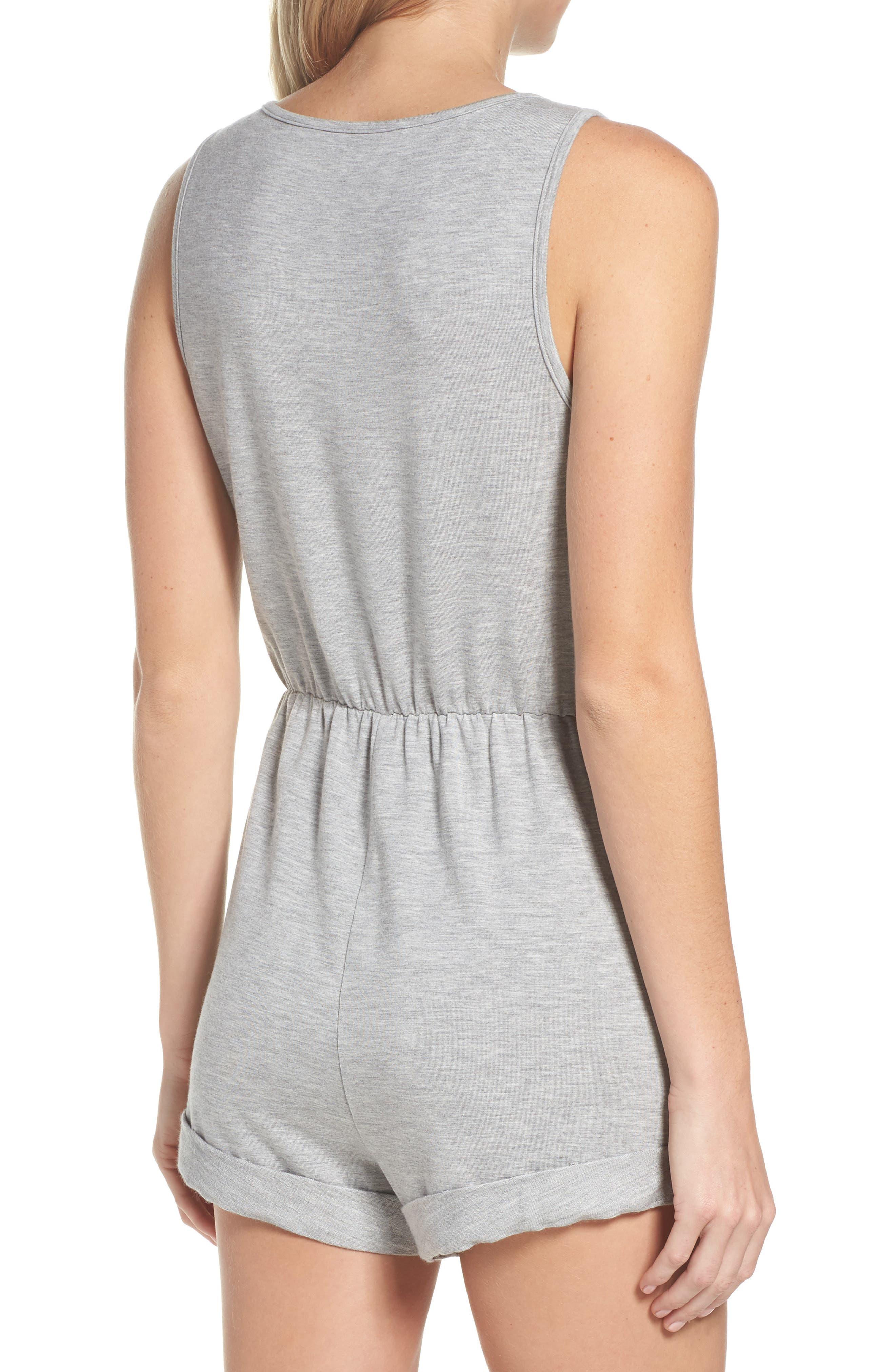 Zuelia French Terry Lounge Romper,                             Alternate thumbnail 2, color,                             H Grey