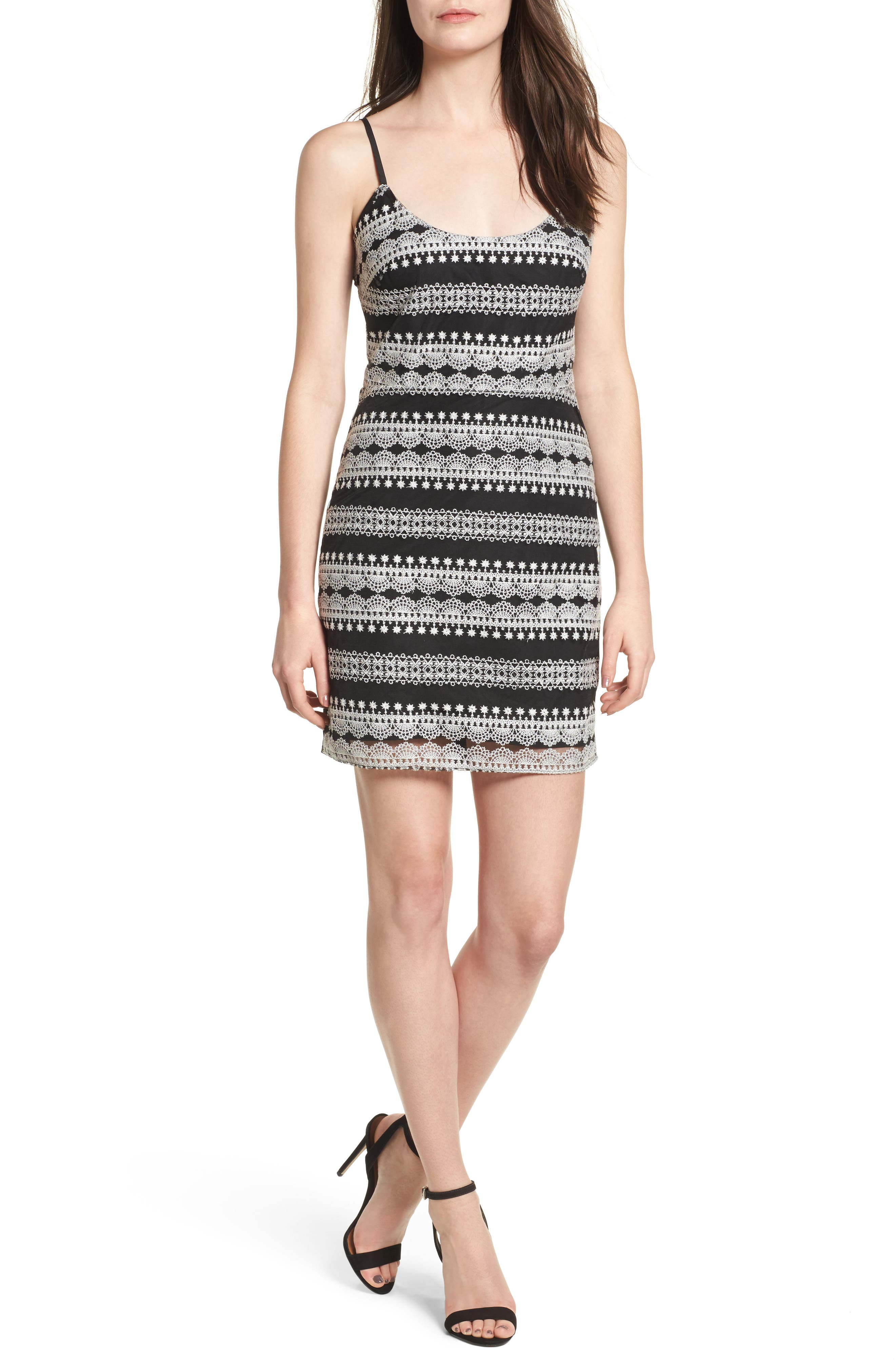 Randy Body-Con Dress,                         Main,                         color, Black/ White