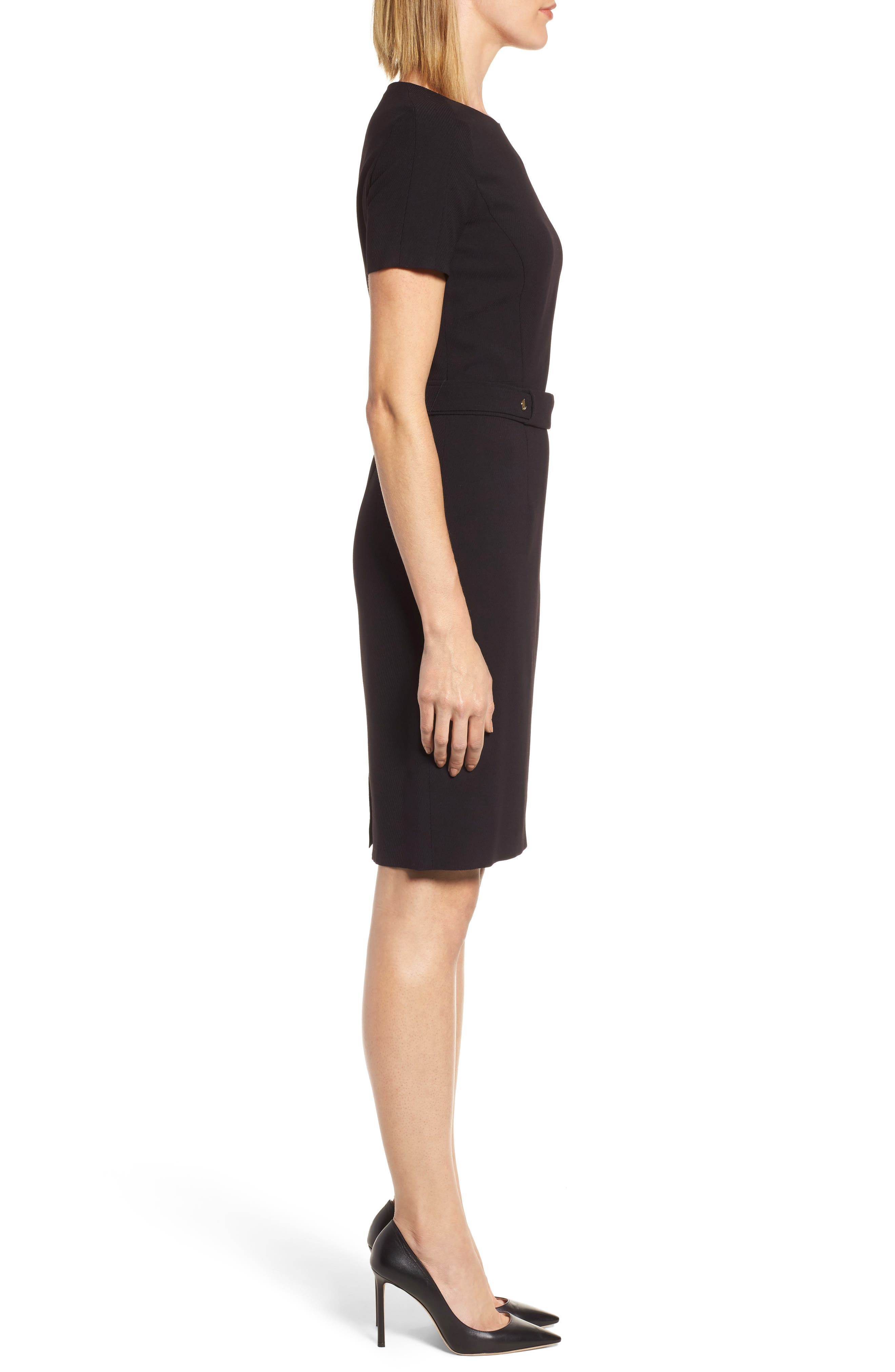 Desulea Stretch Wool Sheath Dress,                             Alternate thumbnail 3, color,                             Black