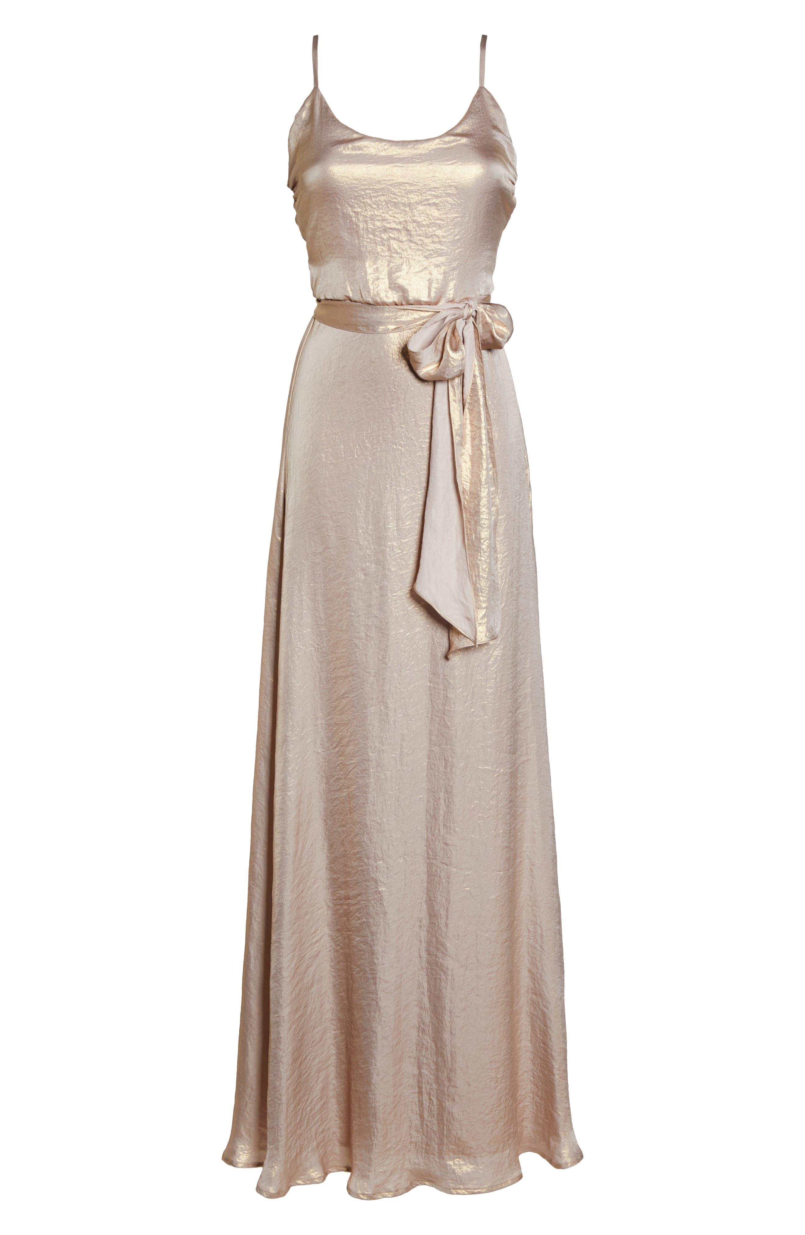 Crushed Satin Blouson Gown,                             Alternate thumbnail 6, color,                             Rose Gold