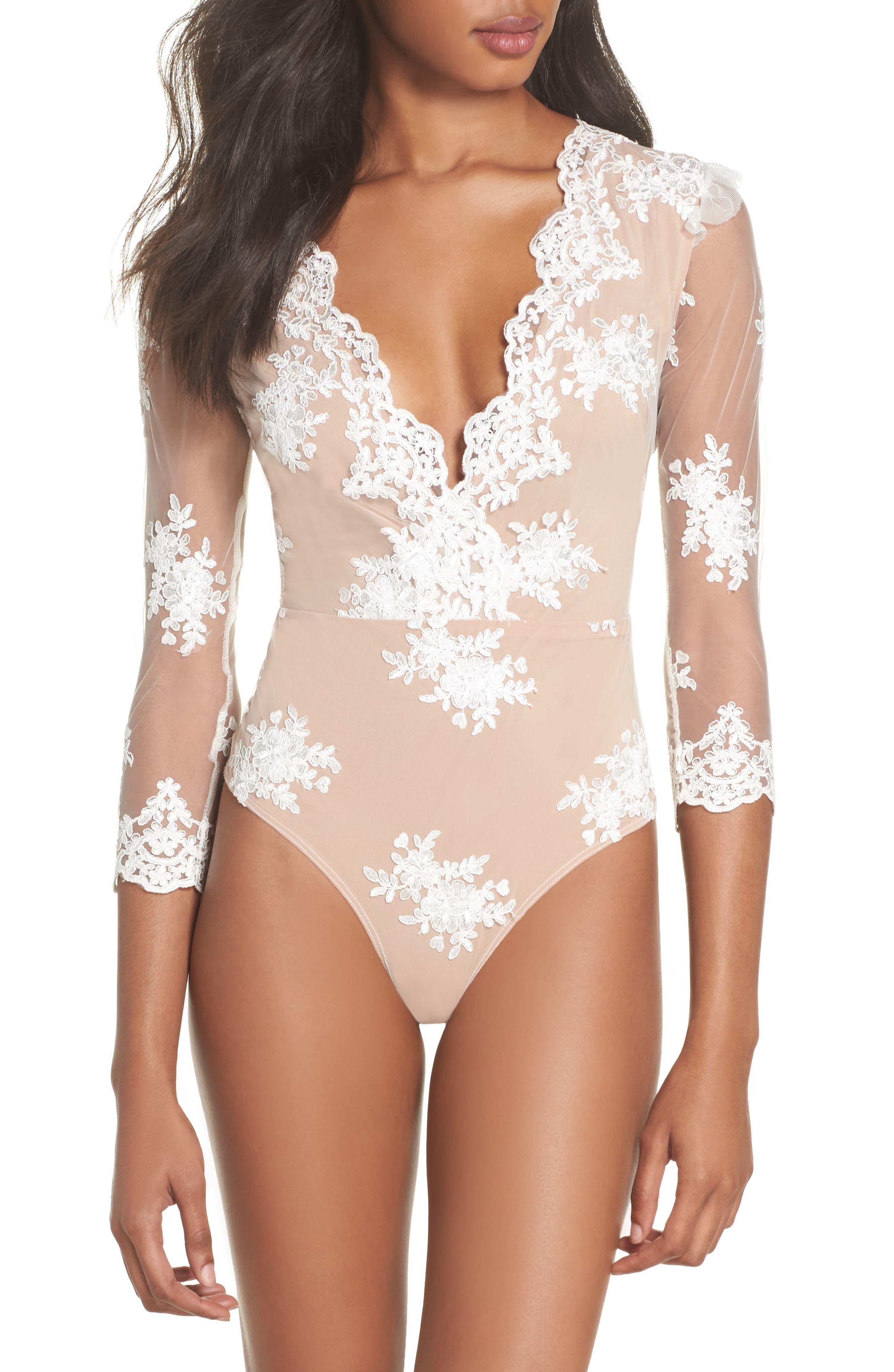 Amber Thong Bodysuit,                         Main,                         color, Blanc