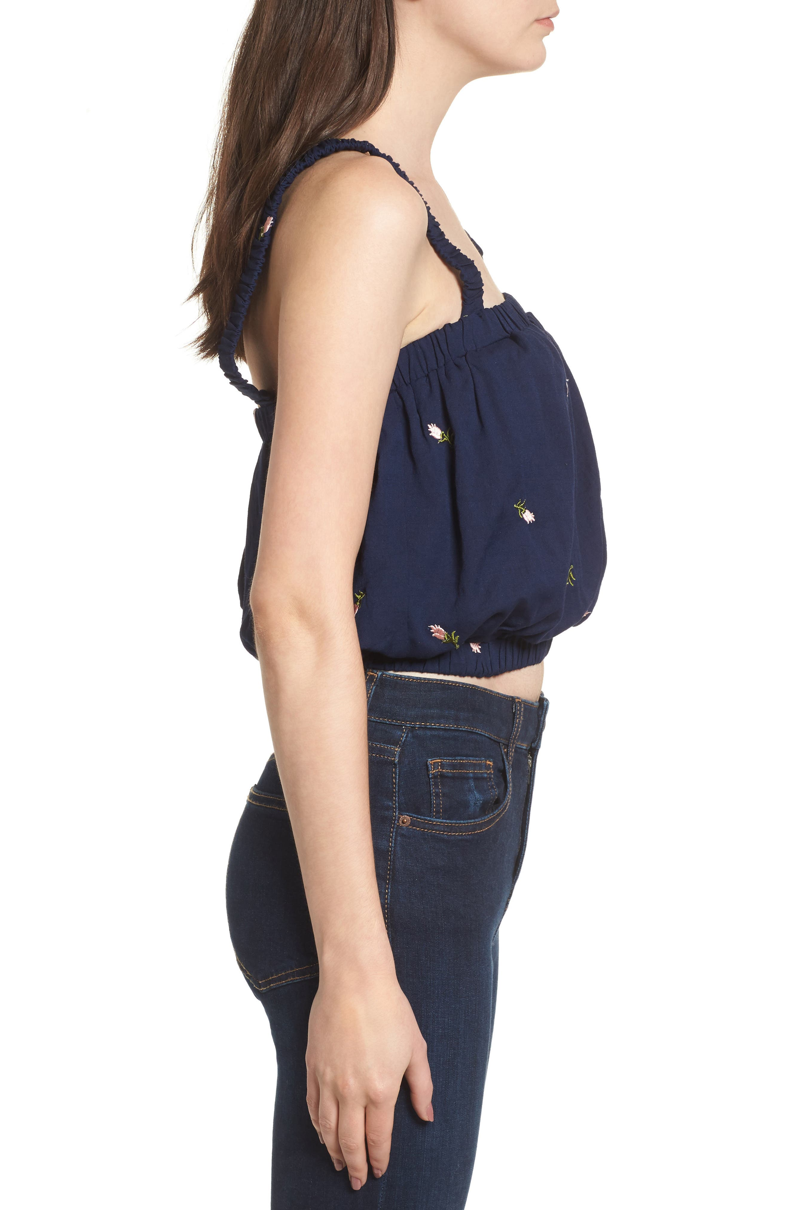 Embroidered Crop Top,                             Alternate thumbnail 3, color,                             Navy
