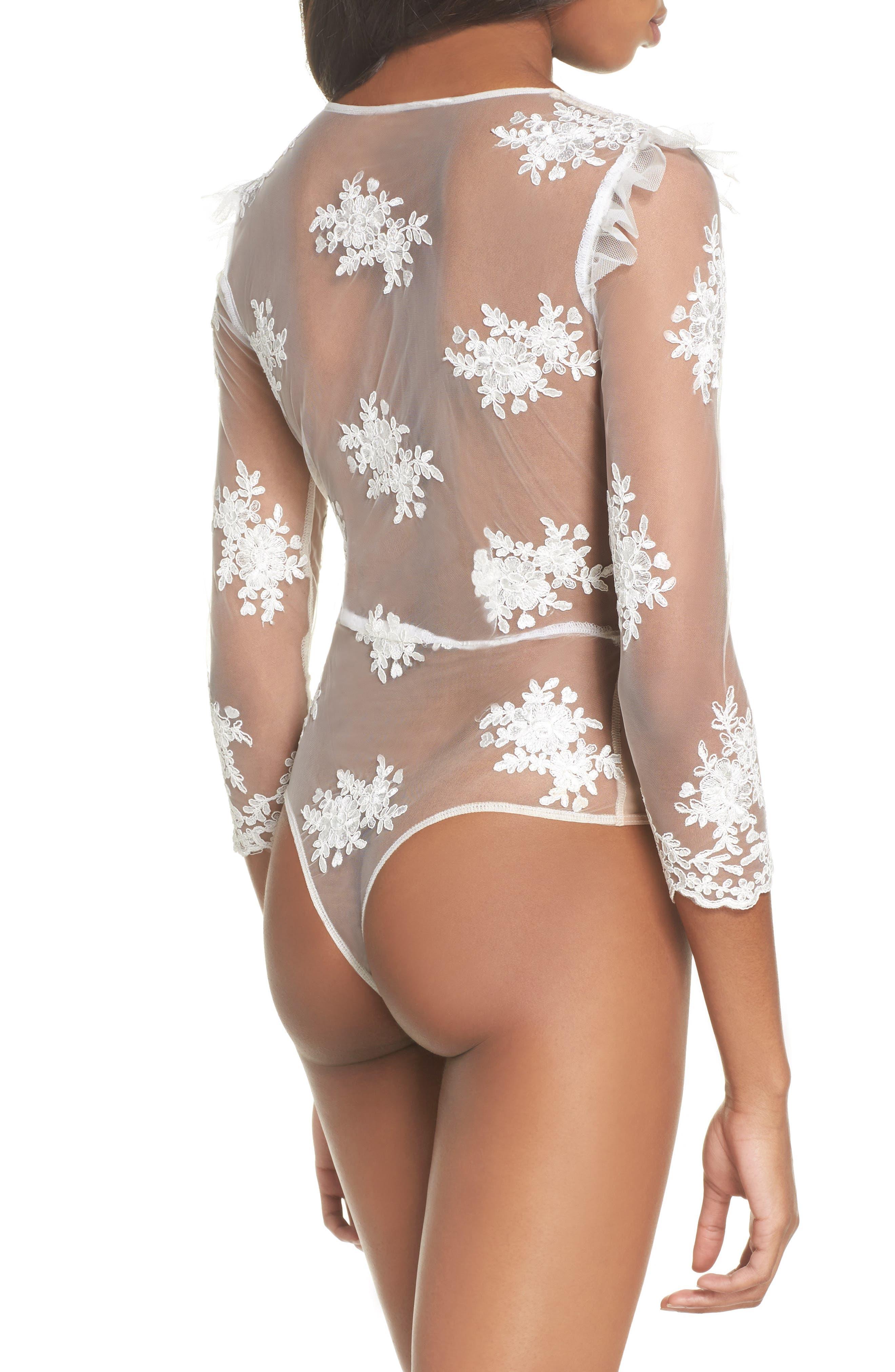 Amber Thong Bodysuit,                             Alternate thumbnail 2, color,                             Blanc