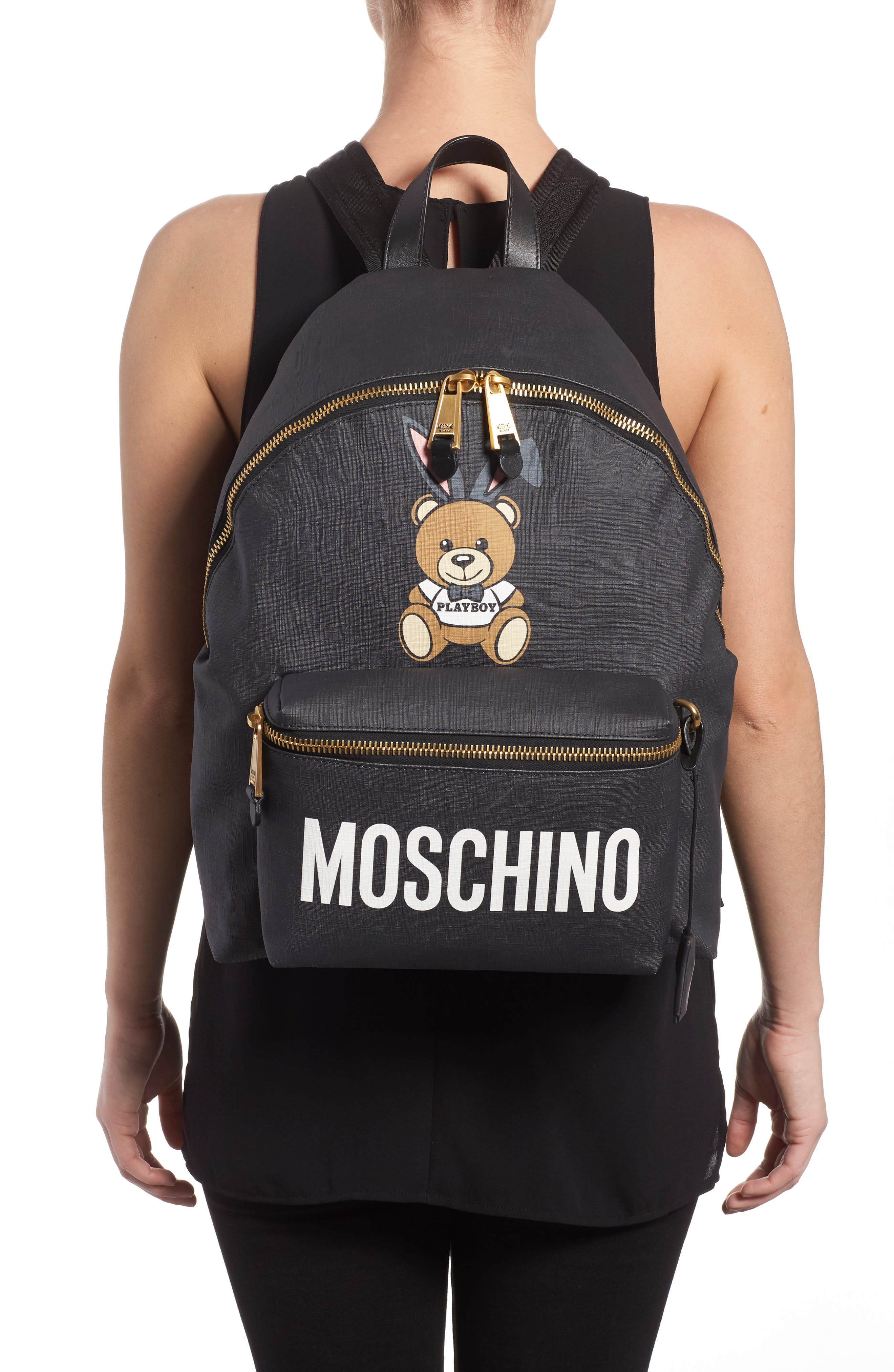 Alternate Image 2  - Moschino x Playboy Large Bunny Bear Woven Backpack