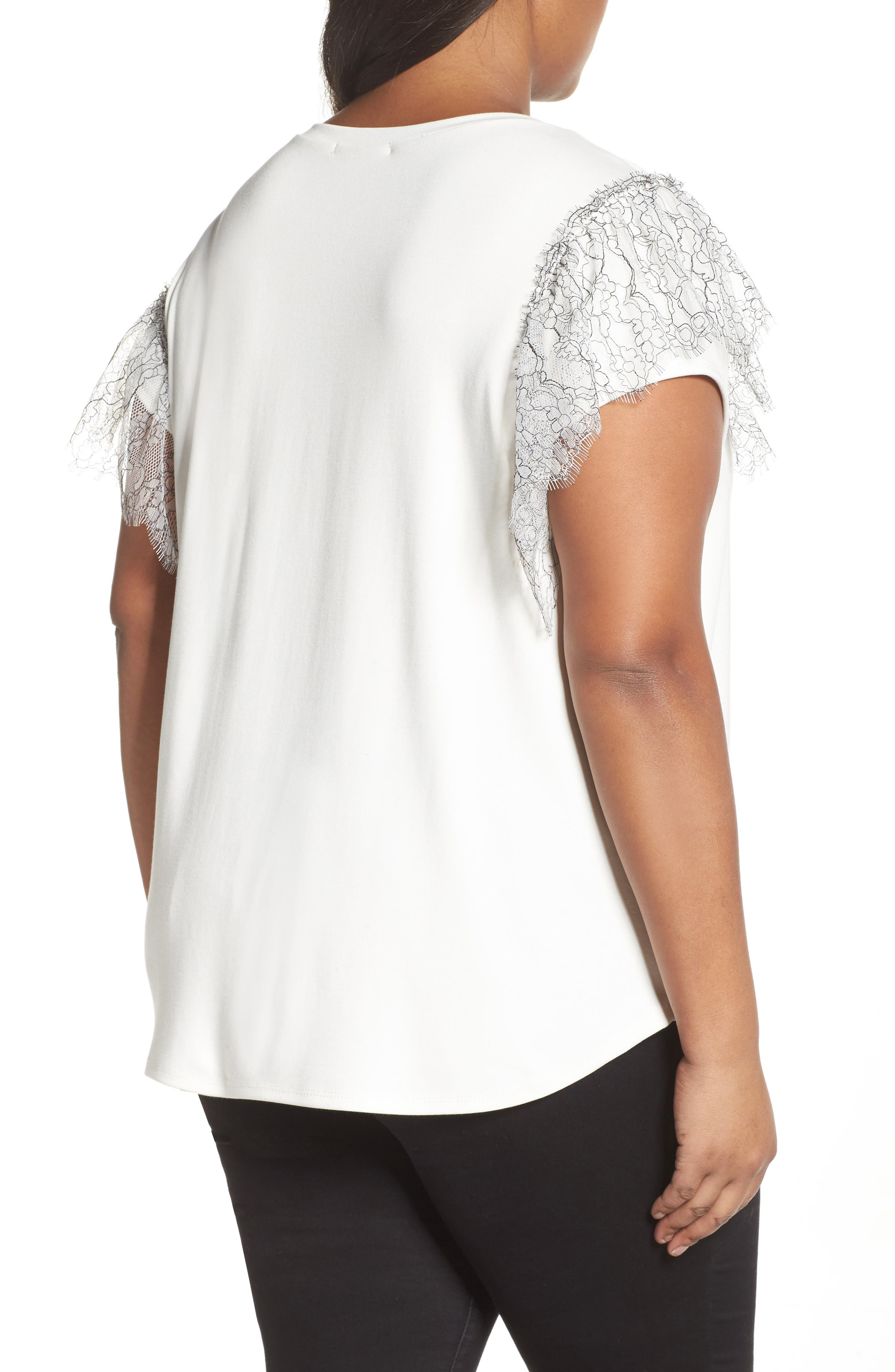 Asymmetrical Lace Tee,                             Alternate thumbnail 2, color,                             White- Black