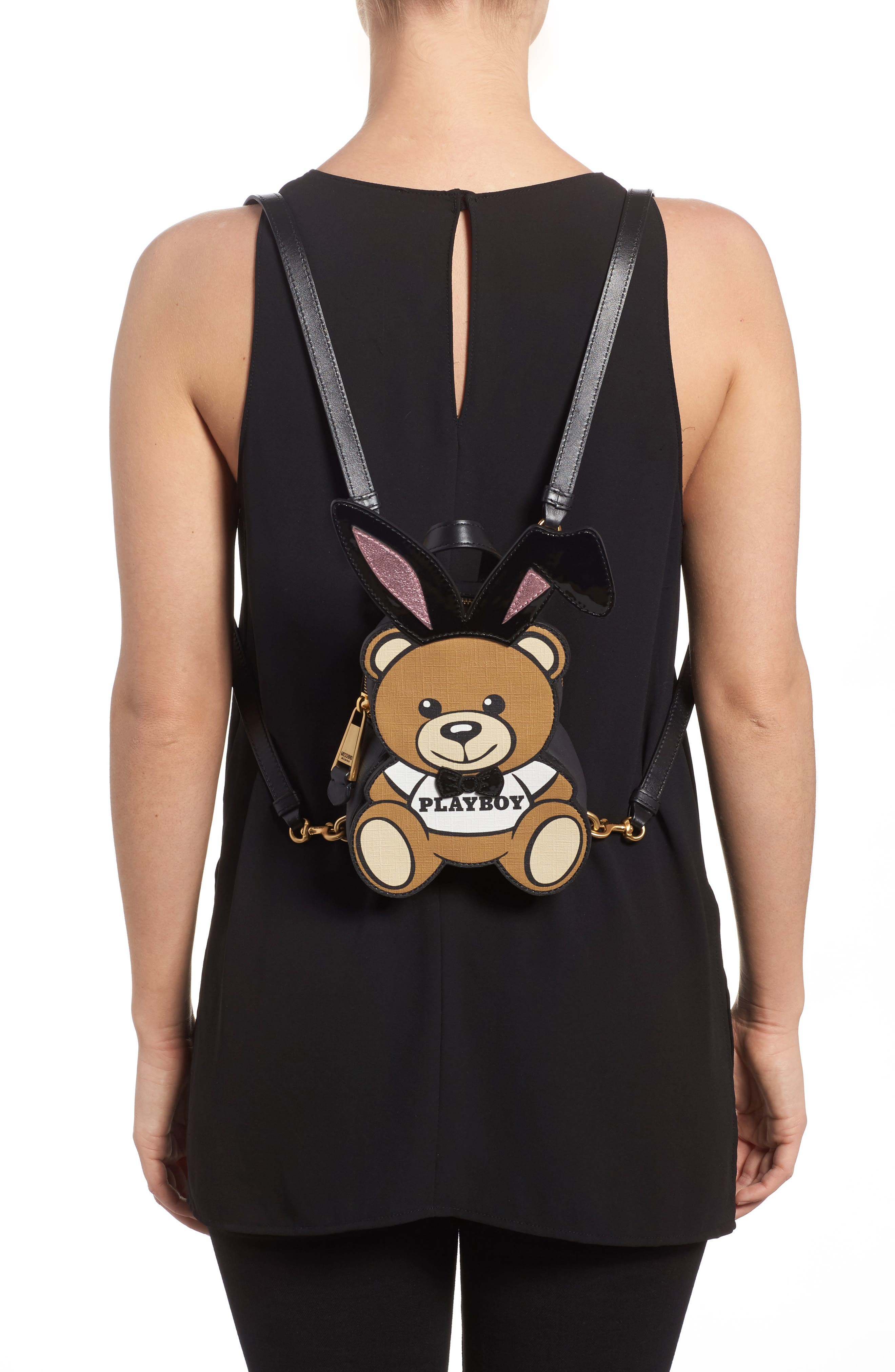 Alternate Image 2  - Moschino x Playboy Small Bunny Bear Leather Backpack
